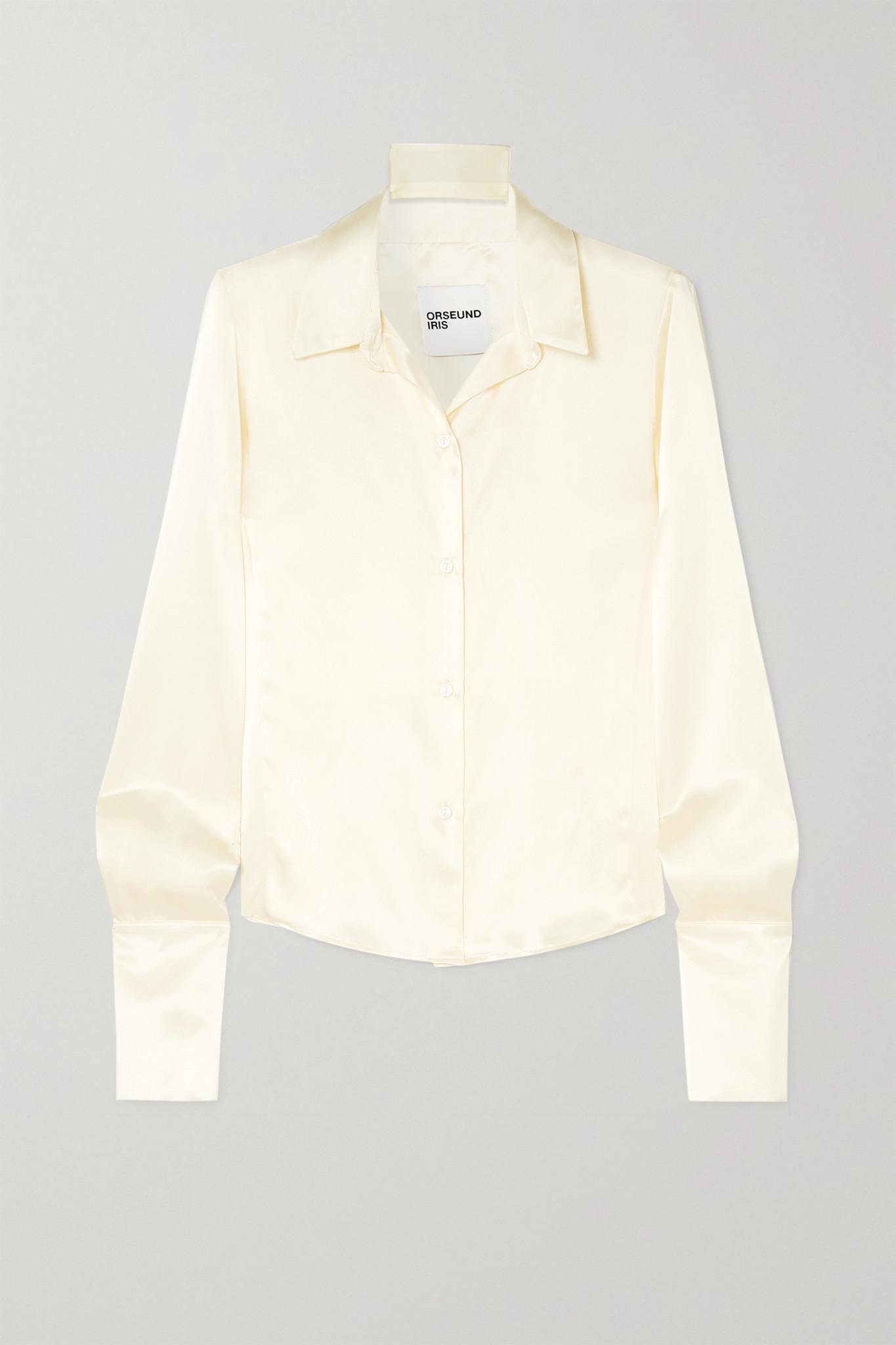 ORSEUND IRIS - Silk-satin Shirt - Cream - large