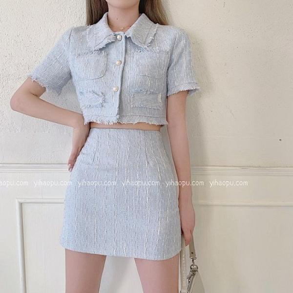 洋氣套裝女春夏季2021年新款包臀半身裙輕熟短外套氣質裙子兩件套 貝芙莉