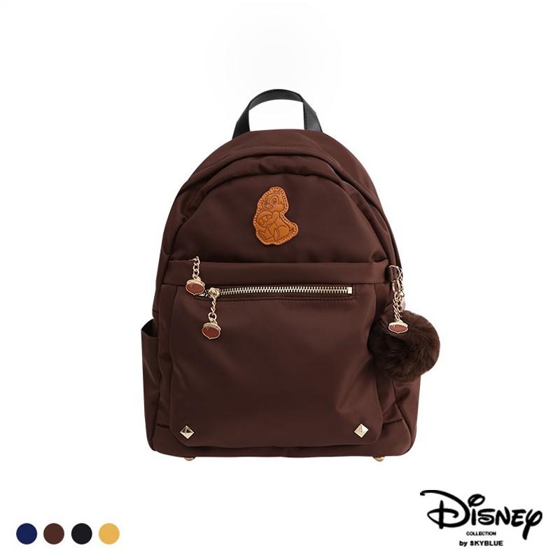 天藍小舖-迪士尼系列烙印人物皮標尼龍後背包(附毛球)-共4色-A12122024