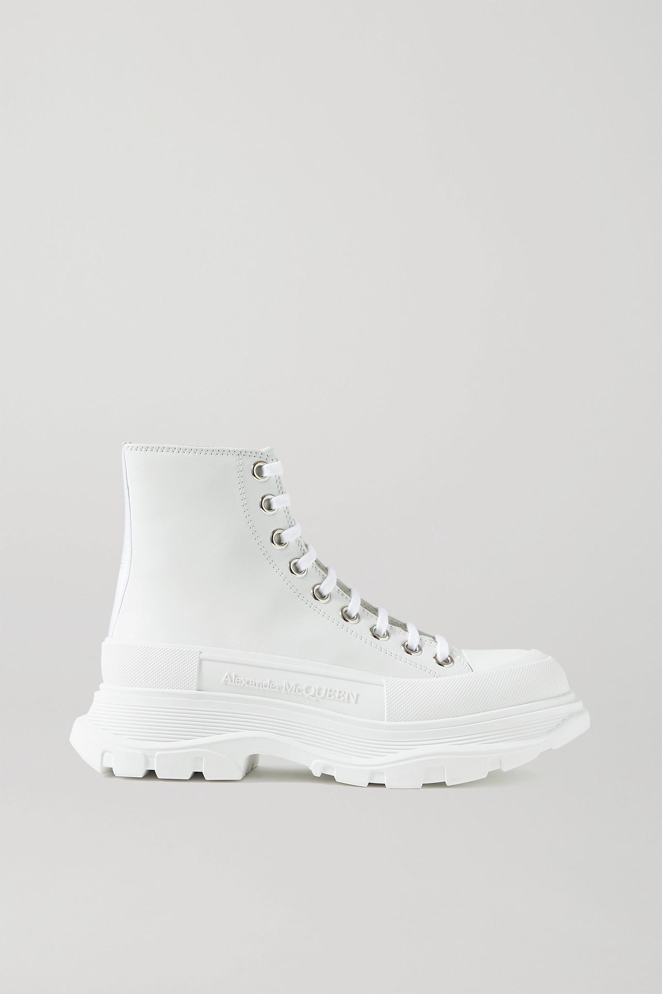 ALEXANDER MCQUEEN - 帆布橡胶厚底踝靴 - 白色 - IT40