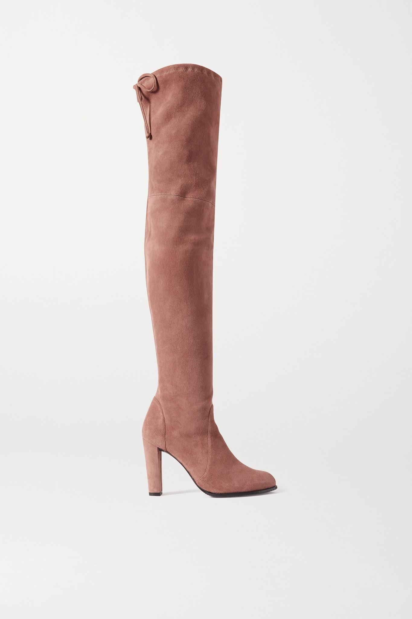 STUART WEITZMAN - Highland 弹力绒面革过膝长靴 - 棕色 - IT38
