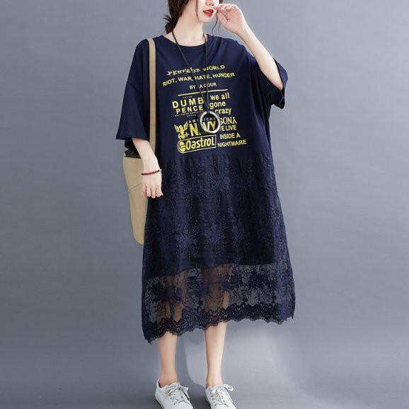 洋裝 寬鬆裙 大碼裙子棉花裙L-XL文藝範字母印花蕾絲純色拼接短袖中長款連衣裙非A28.8208胖胖美依