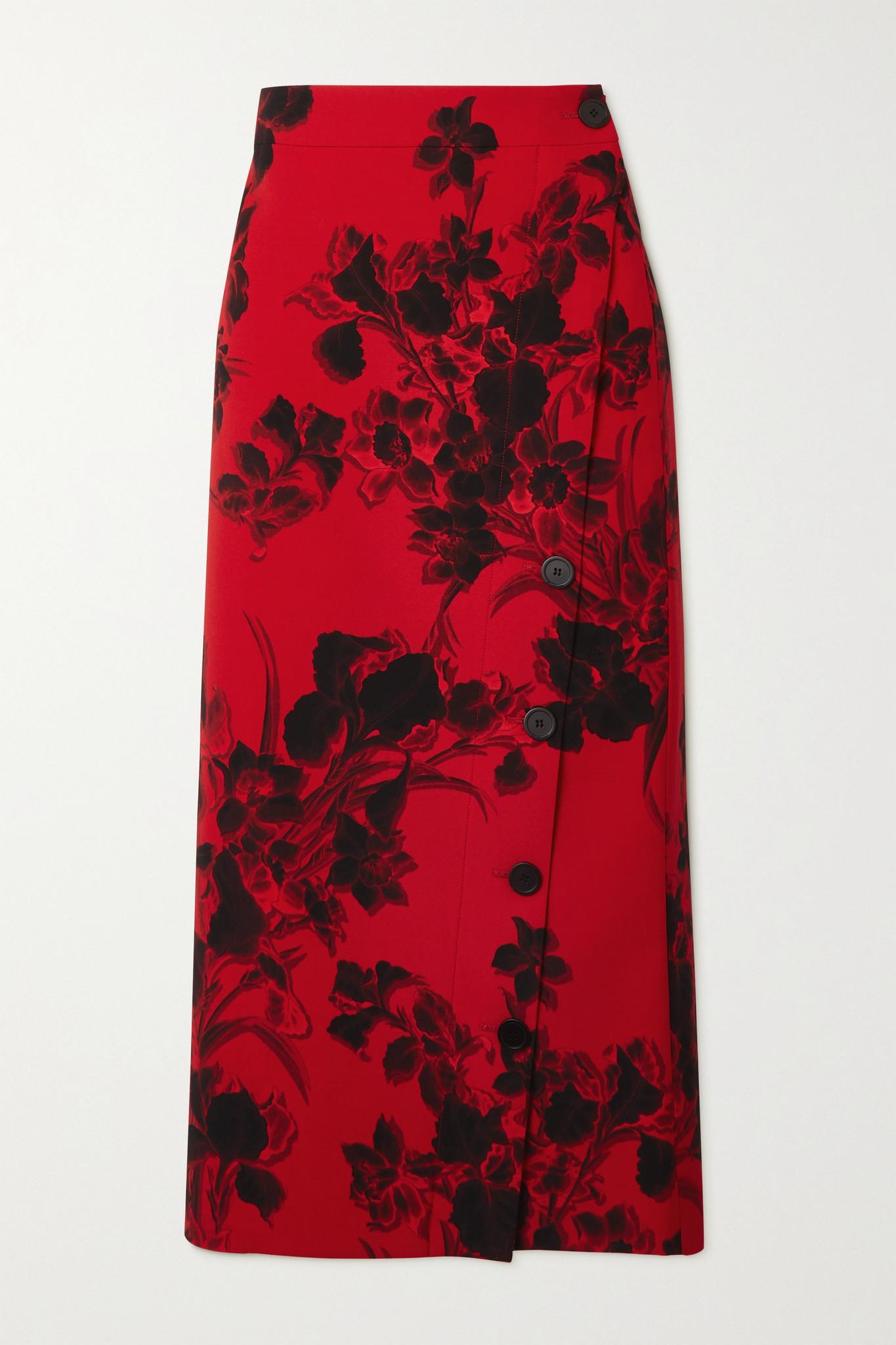 BALENCIAGA - 花卉印花羊毛绉纱中长半身裙 - 红色 - FR40