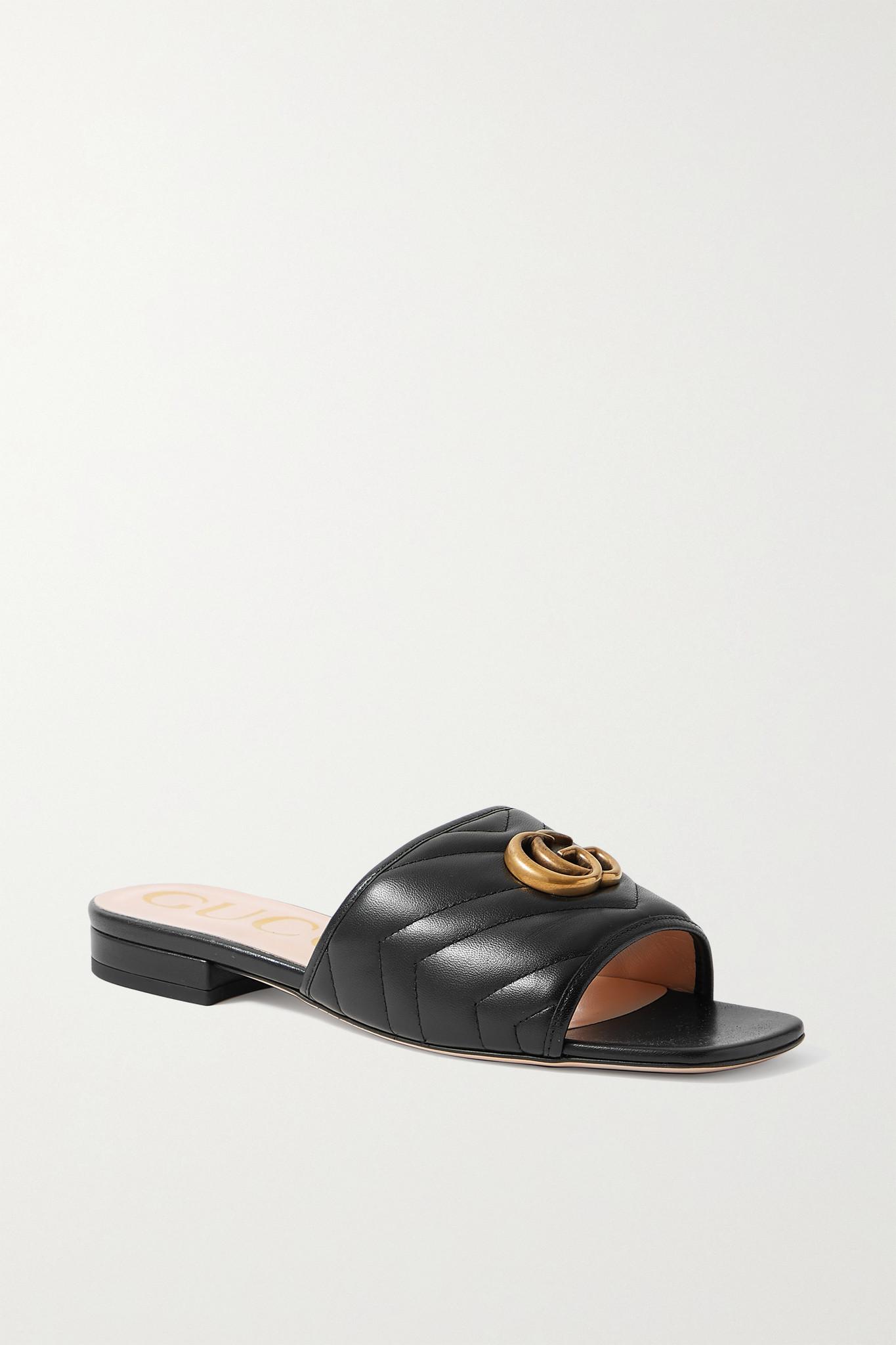 GUCCI - Jolie Logo-embellished Quilted Leather Slides - Black - IT37.5