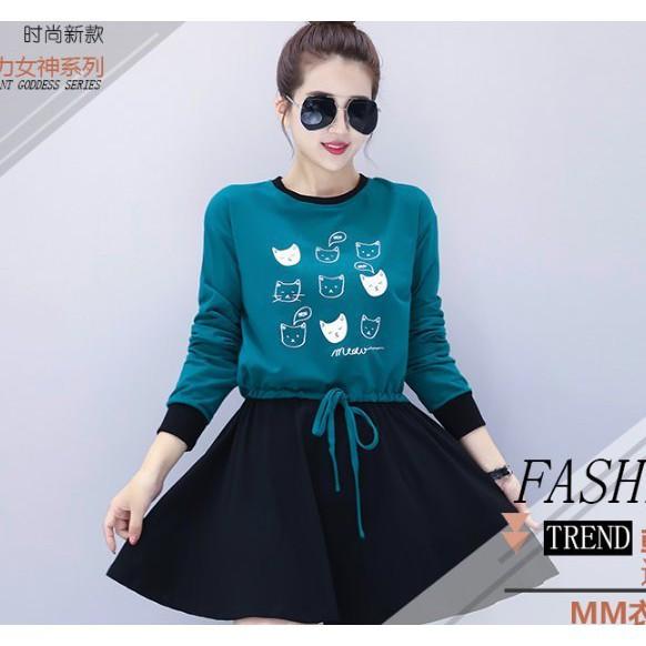 現貨綠色2XL假兩件洋裝連身裙S-2XL中大尺碼13778/拼接連身裙胖胖美依