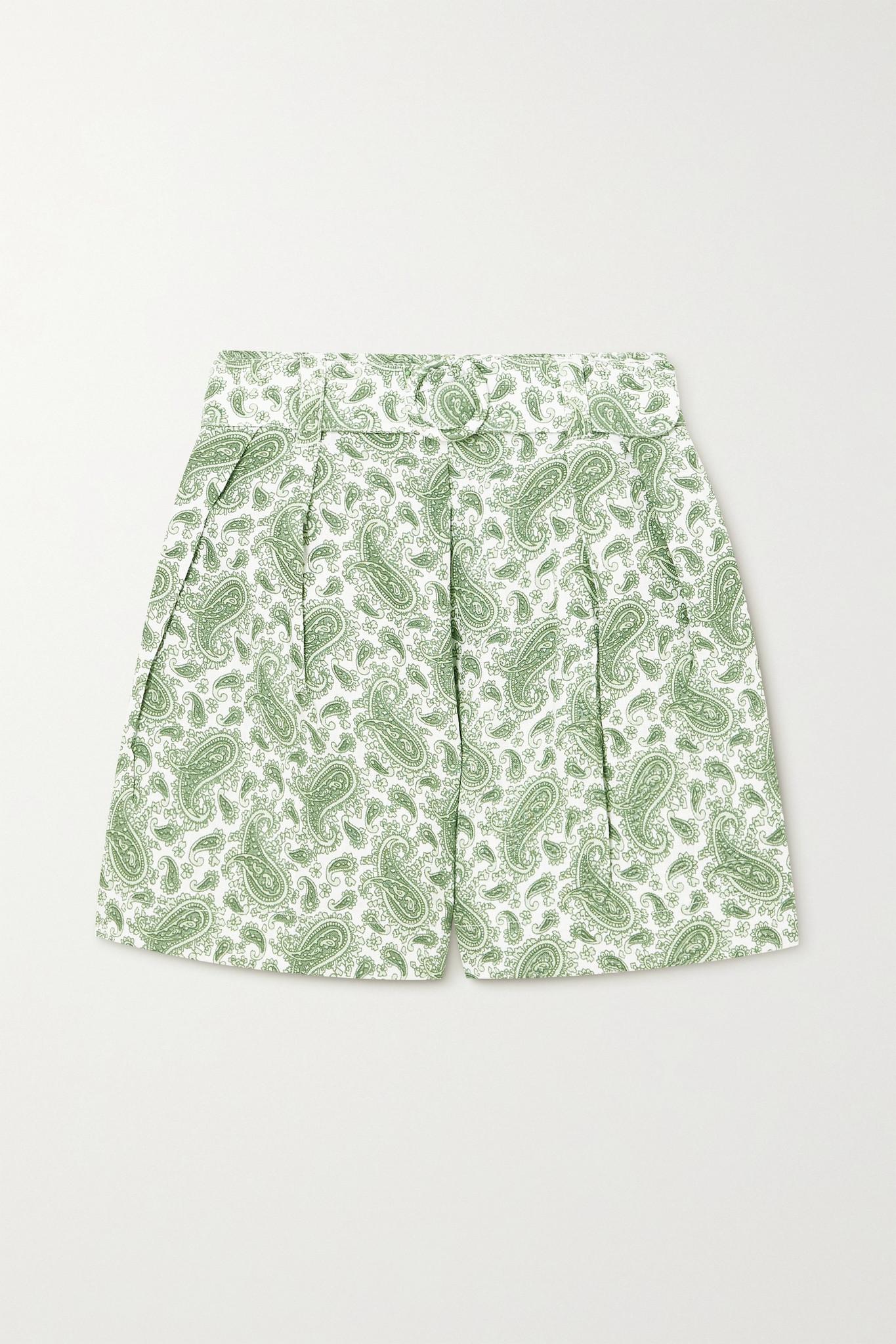 FAITHFULL THE BRAND - 【net Sustain】ondine 配腰带佩斯利印花亚麻短裤 - 绿色 - large