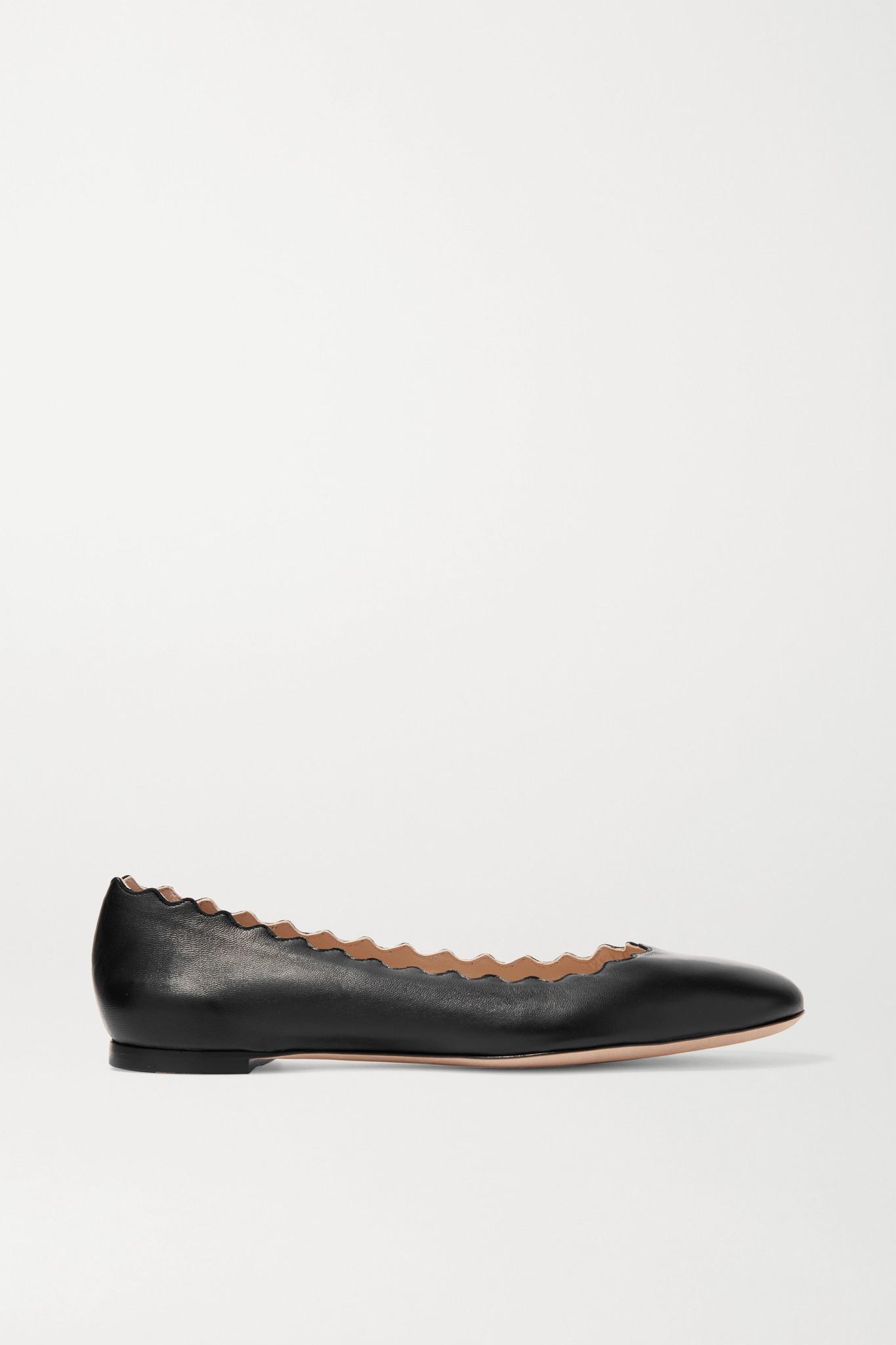 CHLOÉ - Lauren Scalloped Leather Ballet Flats - Black - IT39.5
