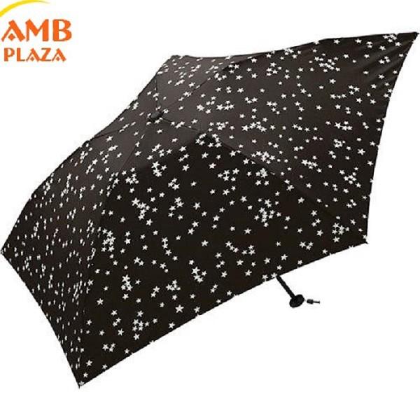 KIU AIR-LIGHT 90g-小巧收納款晴雨兩用折傘 -黑底白星星款 (日本KIU 輕量傘)