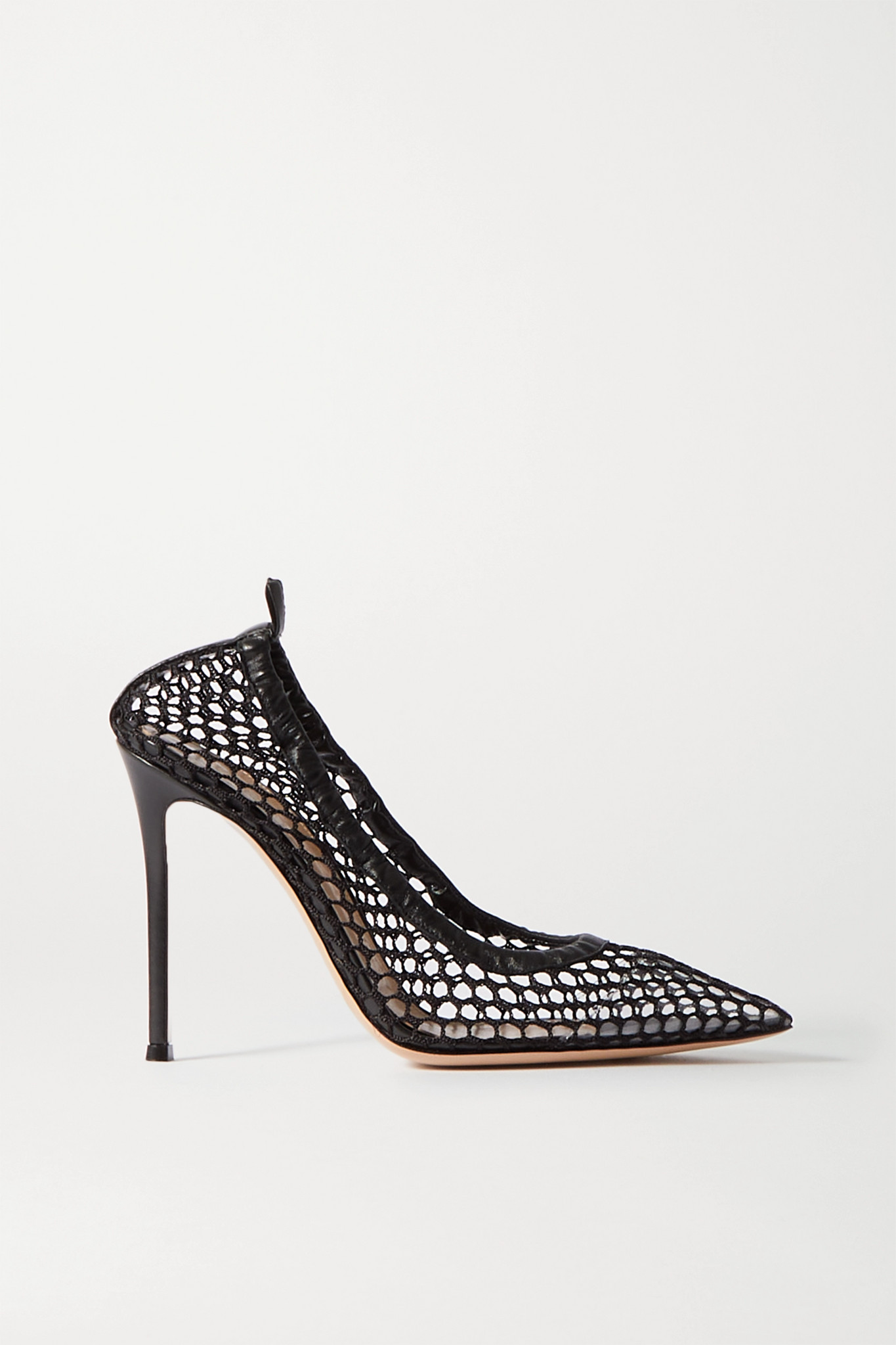 GIANVITO ROSSI - 105 Leather-trimmed Fishnet Pumps - Black - IT37.5