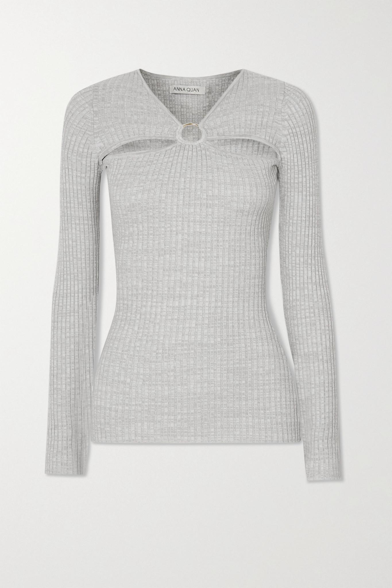 ANNA QUAN - Laila 挖剪带缀饰罗纹纯棉平纹布上衣 - 灰色 - UK8