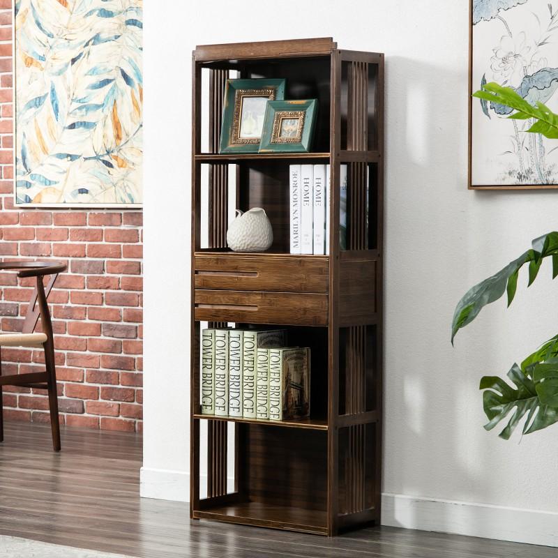 創意復古書柜新中式書櫥落地簡易多層實木抽屜置物架組合學生書架