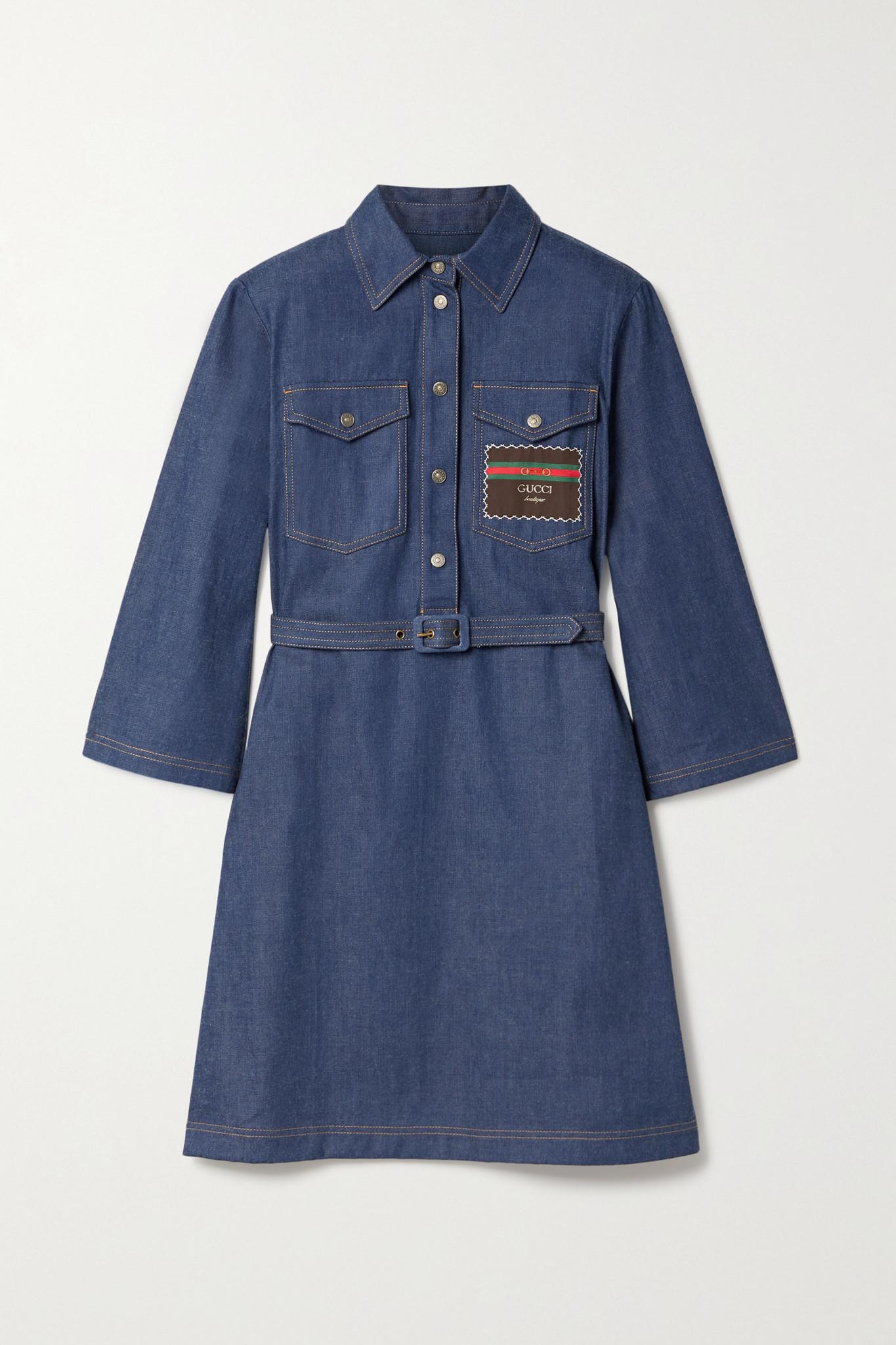 GUCCI - 配腰带贴花牛仔连衣裙 - 蓝色 - IT36