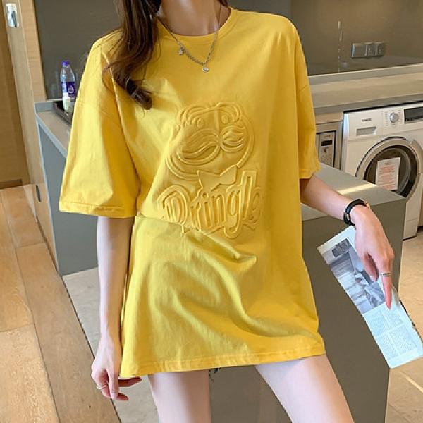 短袖T恤 韓版夏季短袖t恤女中長款寬松棉衫體恤上衣潮 3729N502紅粉佳人