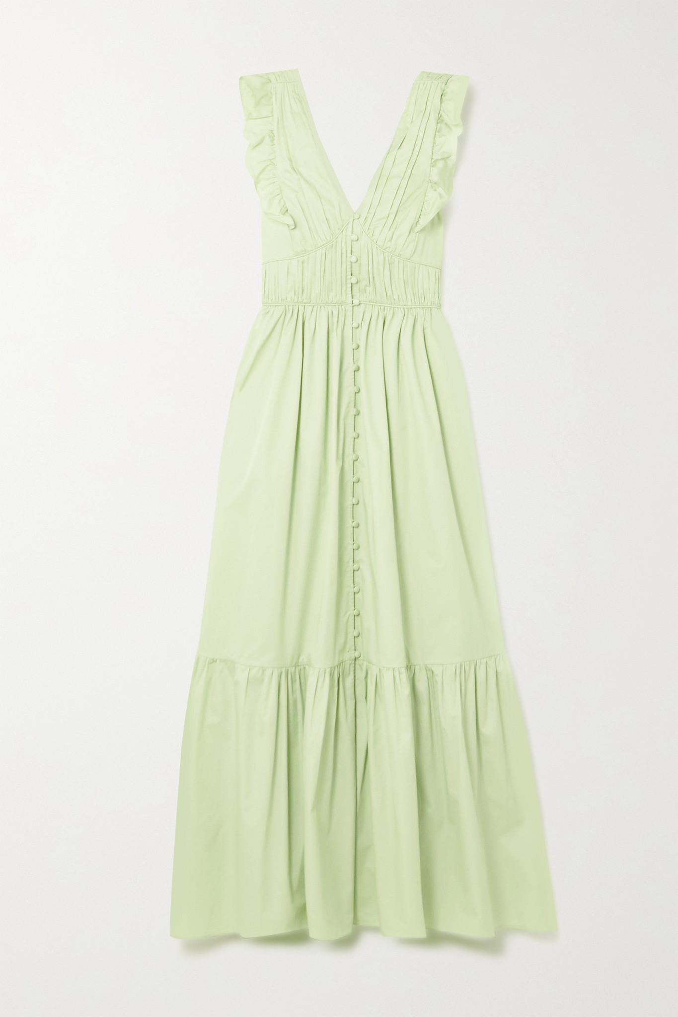 SELF-PORTRAIT - 背面系带荷叶边纯棉府绸超长连衣裙 - 绿色 - UK10