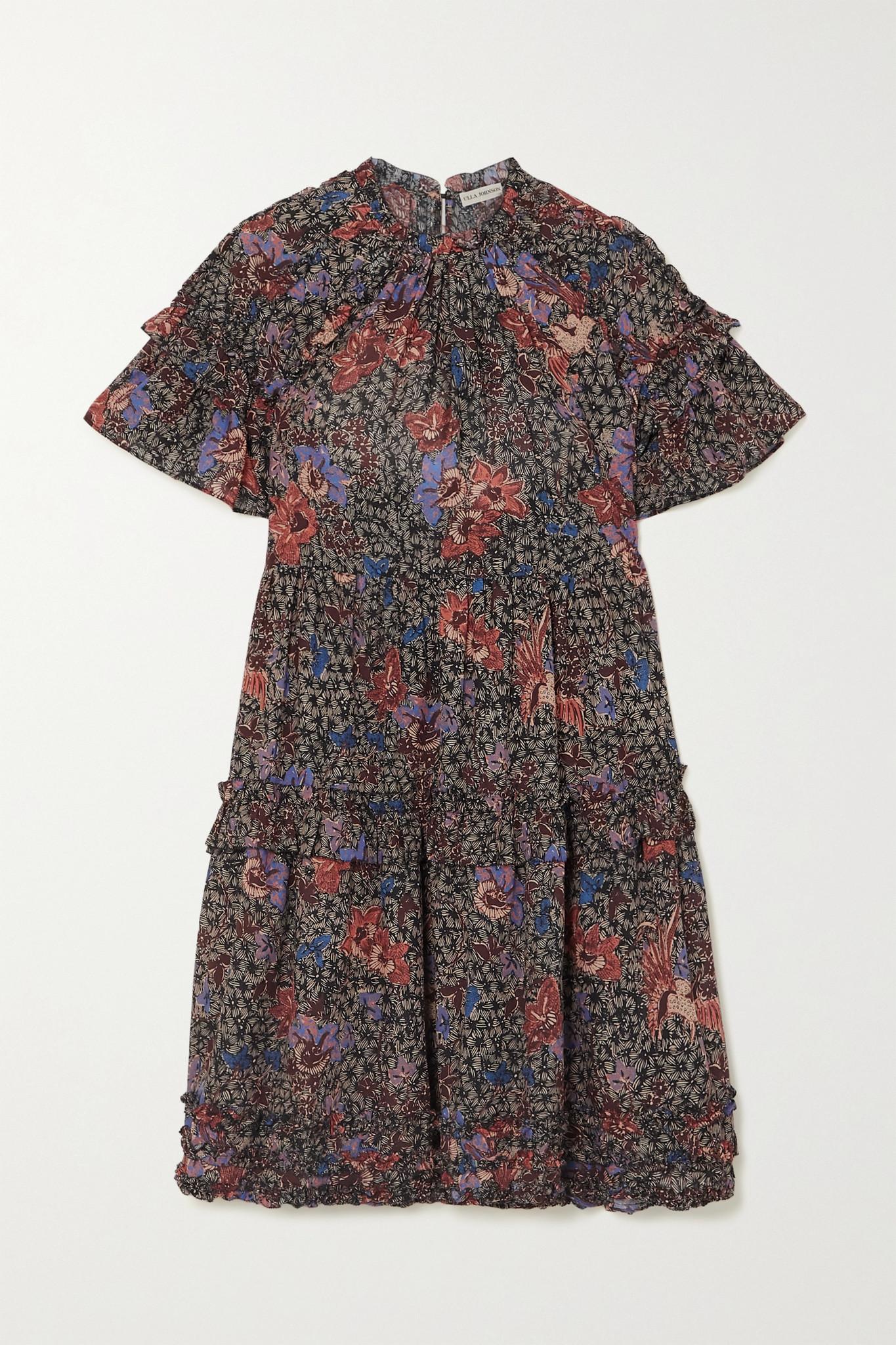 ULLA JOHNSON - Delia 褶饰花卉印花棉质混纺迷你连衣裙 - 蓝色 - US2