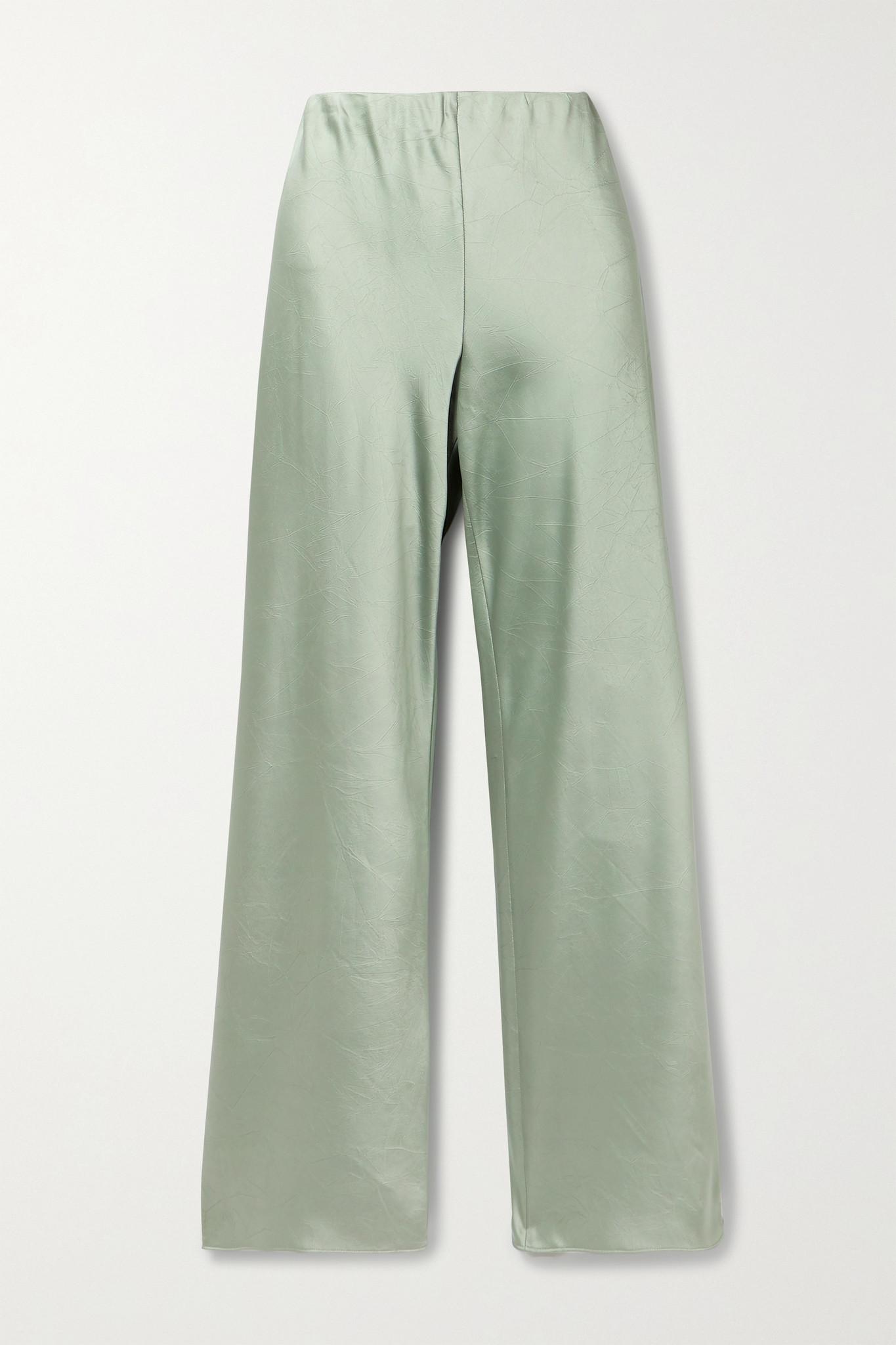 VINCE - Crinkled-satin Straight-leg Pants - Green - small