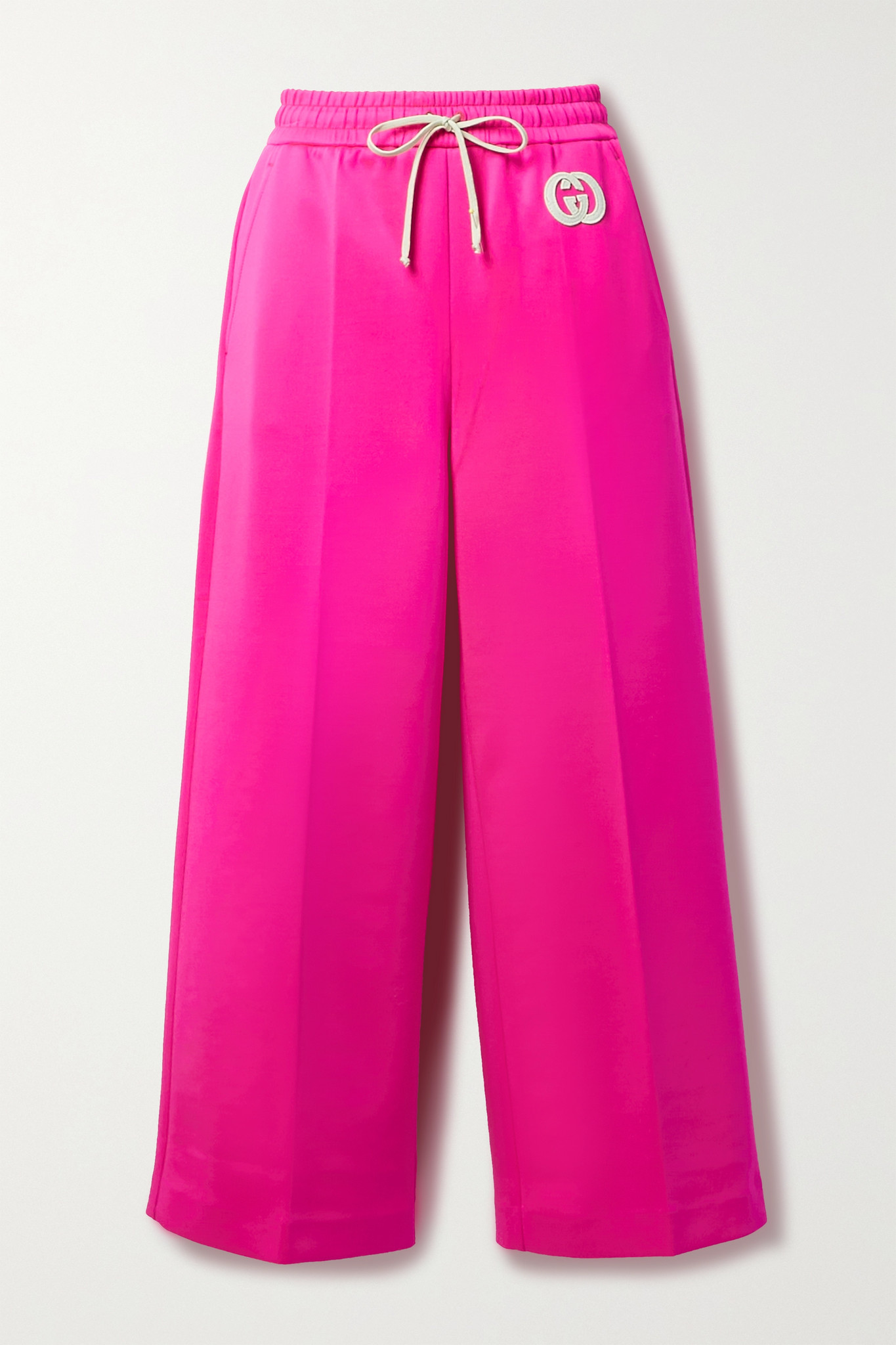 GUCCI - Cropped Appliquéd Neon Stretch-jersey Wide-leg Track Pants - Pink - x small