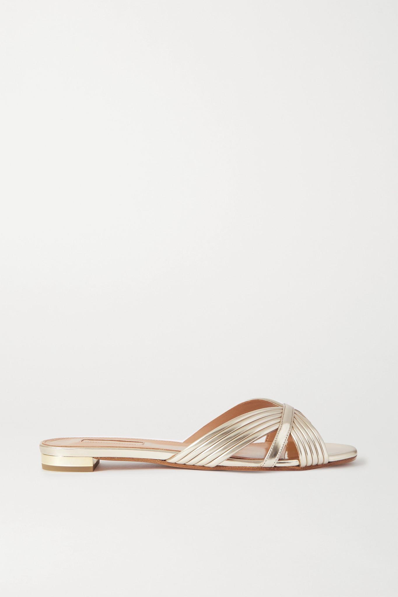 AQUAZZURA - Sundance 金属感纯素皮革拖鞋 - 金属色 - IT35