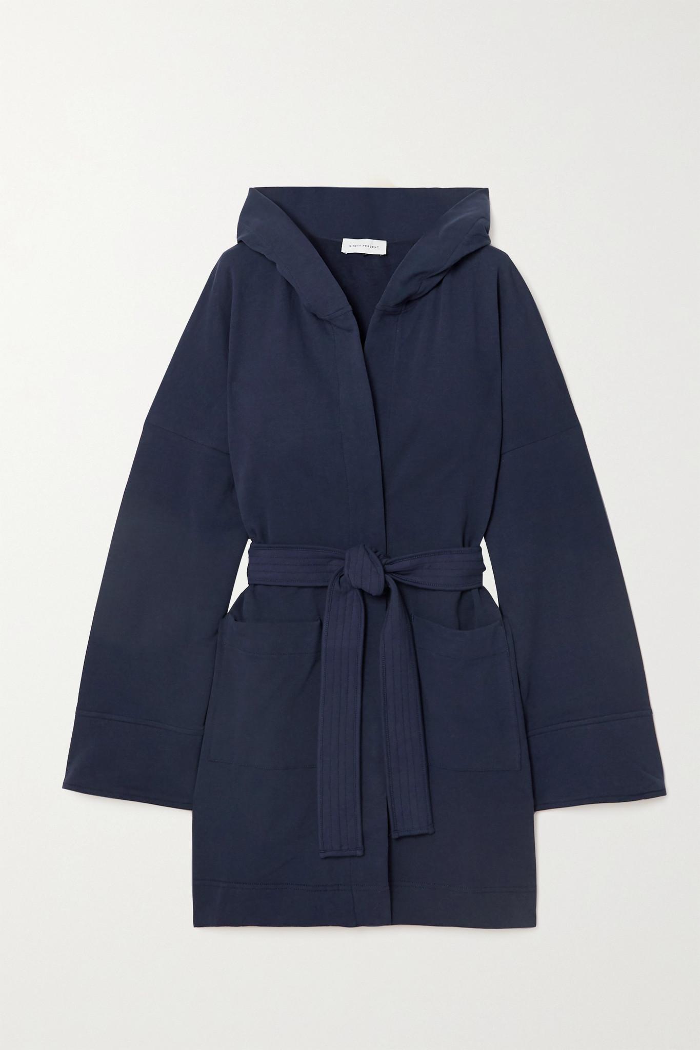 NINETY PERCENT - + Net Sustain Hooded Belted Organic Cotton-fleece Robe - Blue - medium