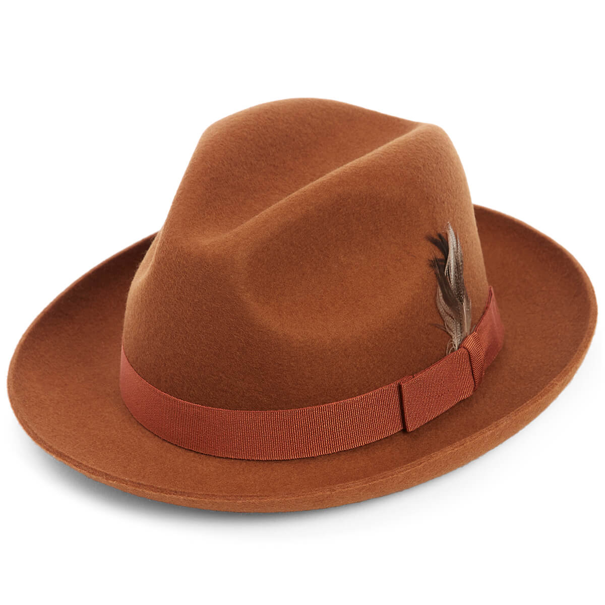 Barbican Wool Felt Trilby Hat - BROWN - size 62