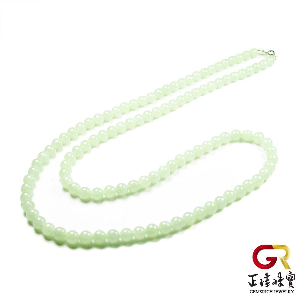 翡翠 糯種綠色 經典翡翠項鍊 天然A貨緬甸玉項鍊 14K金項鍊光滑扣頭 正佳珠寶