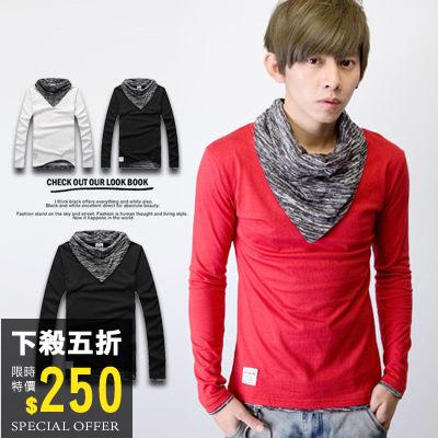【N9031J】層次感雜花圍巾造型合身長袖上衣(GS214-1170)