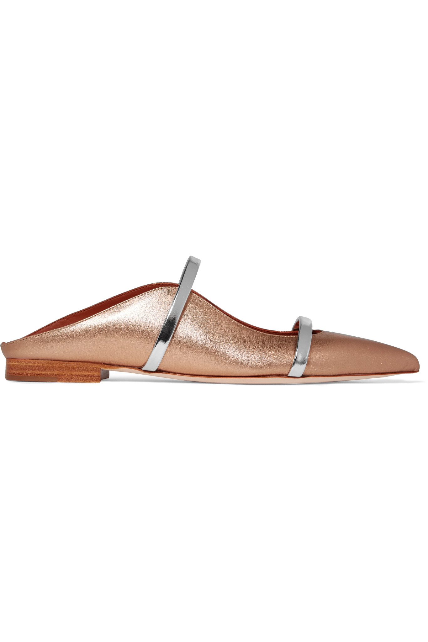 MALONE SOULIERS - Maureen Metallic Leather Point-toe Flats - Gold - IT37