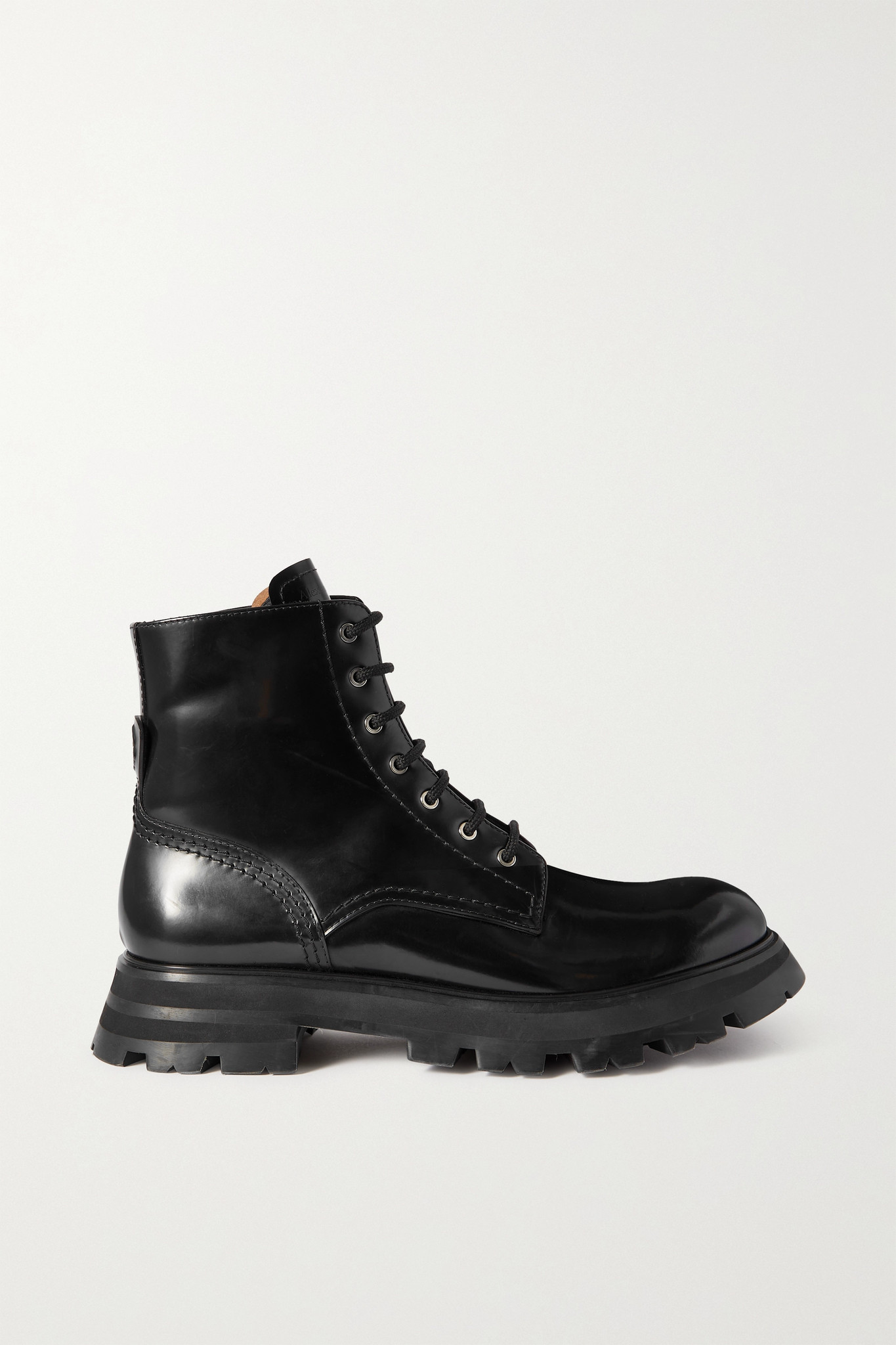 ALEXANDER MCQUEEN - Wander 亮面皮革厚底踝靴 - 黑色 - IT37