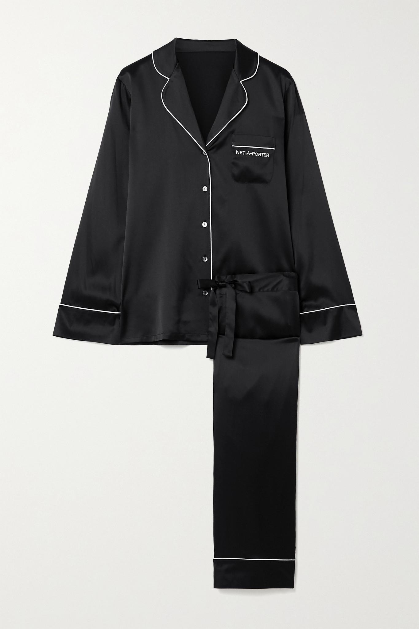 JOURNELLE - + Net-a-porter Embroidered Silk-blend Satin Pajama Set - Black - x small
