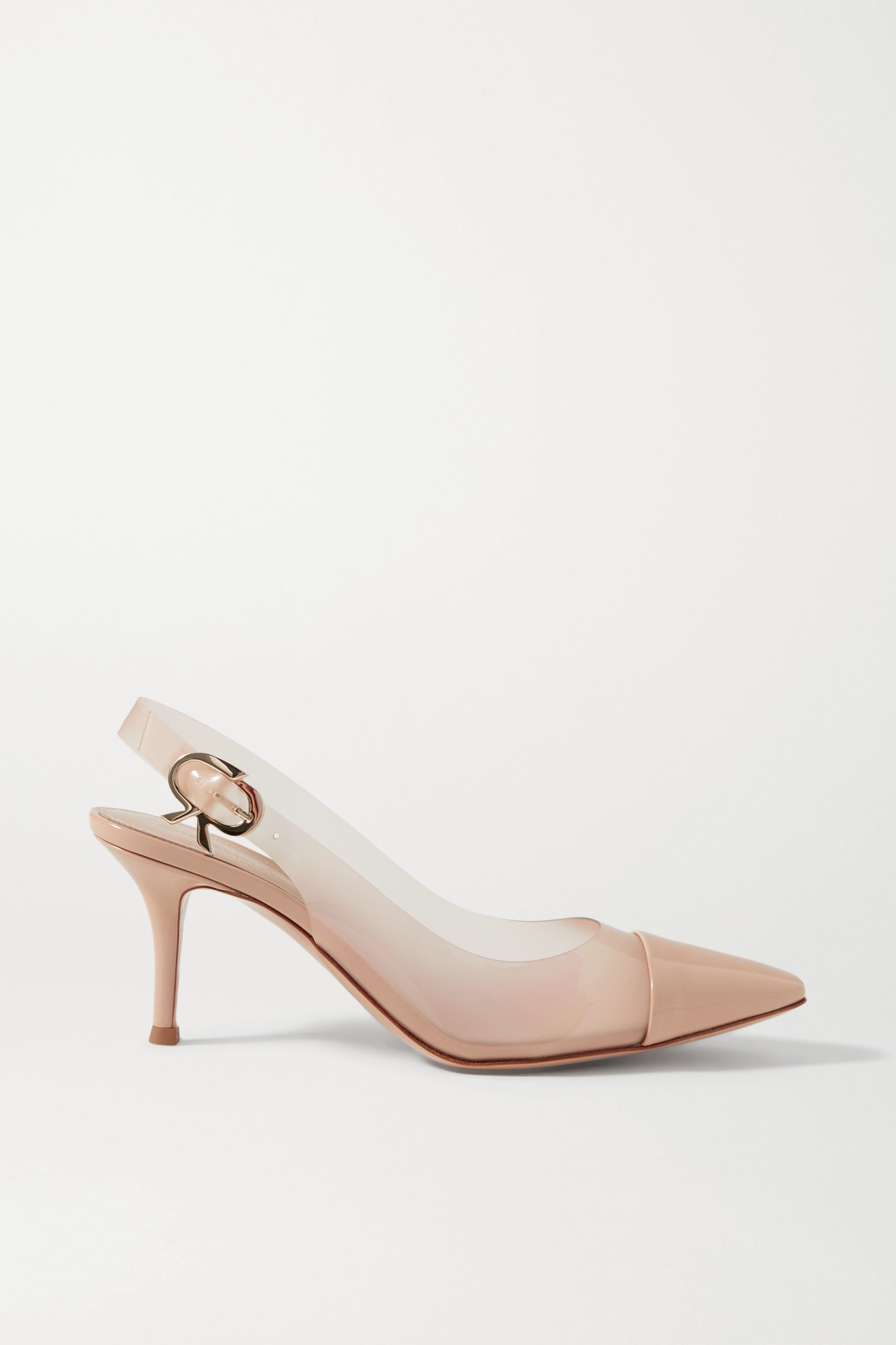 GIANVITO ROSSI - 70 Patent-leather And Pvc Slingback Pumps - Neutrals - IT37.5