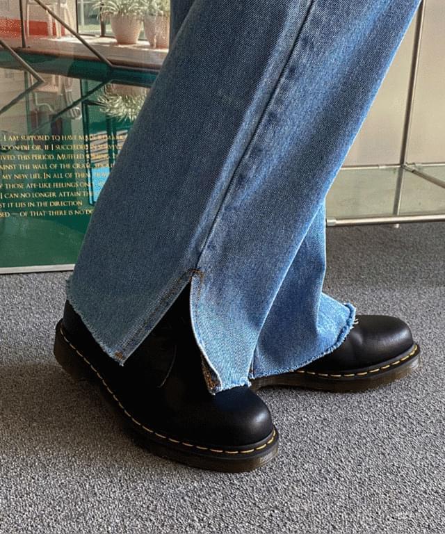 韓國空運 - Kitsune cutting slit denim pants 牛仔褲