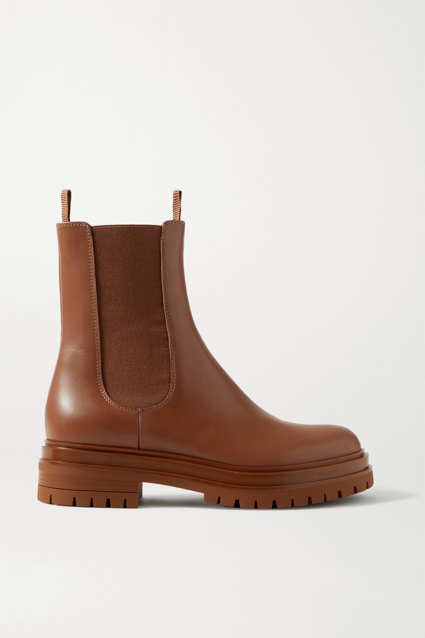 GIANVITO ROSSI - 皮革切尔西靴 - 棕色 - IT36.5