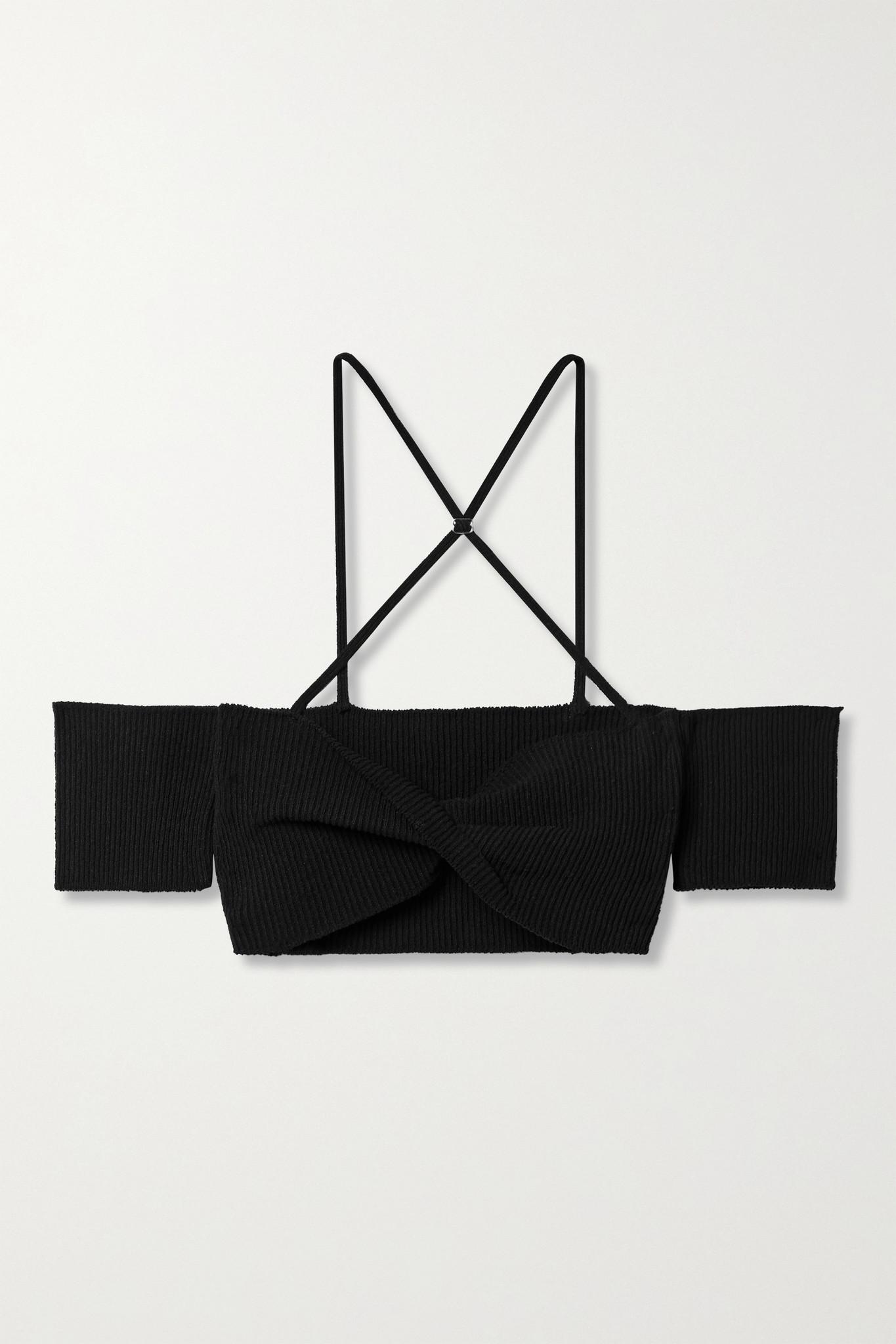 JACQUEMUS - Soleil 露肩罗纹棉质混纺短款上衣 - 黑色 - FR34