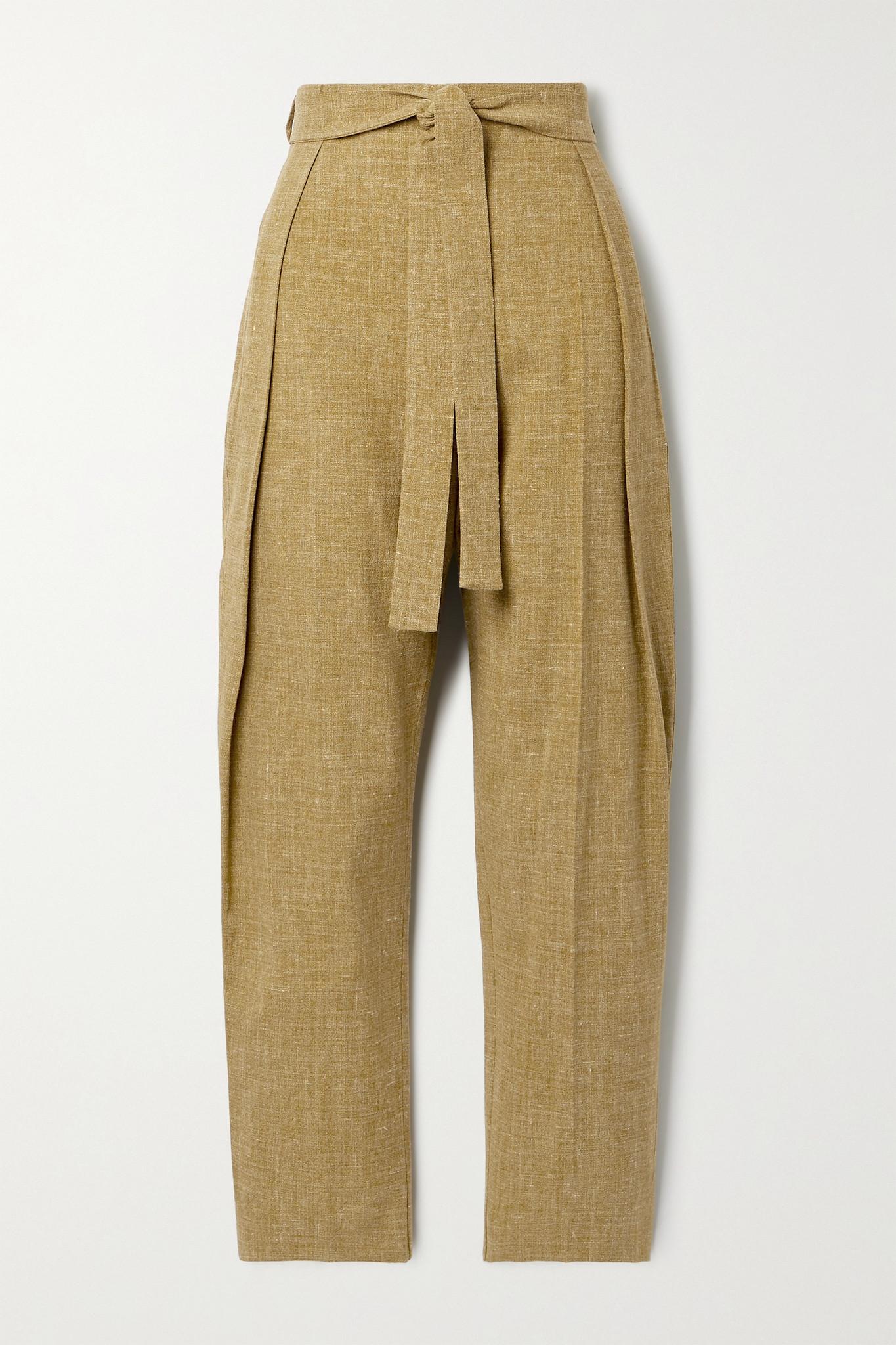 ROKSANDA - Goya Belted Woven Tapered Pants - Green - UK8