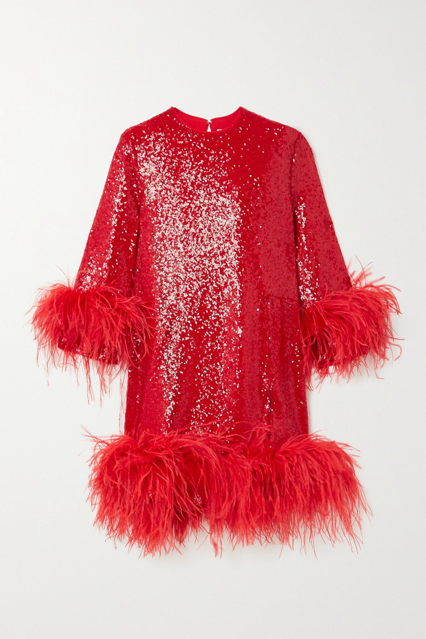 16ARLINGTON - Billie Feather-trimmed Sequined Crepe Mini Dress - Red - UK10