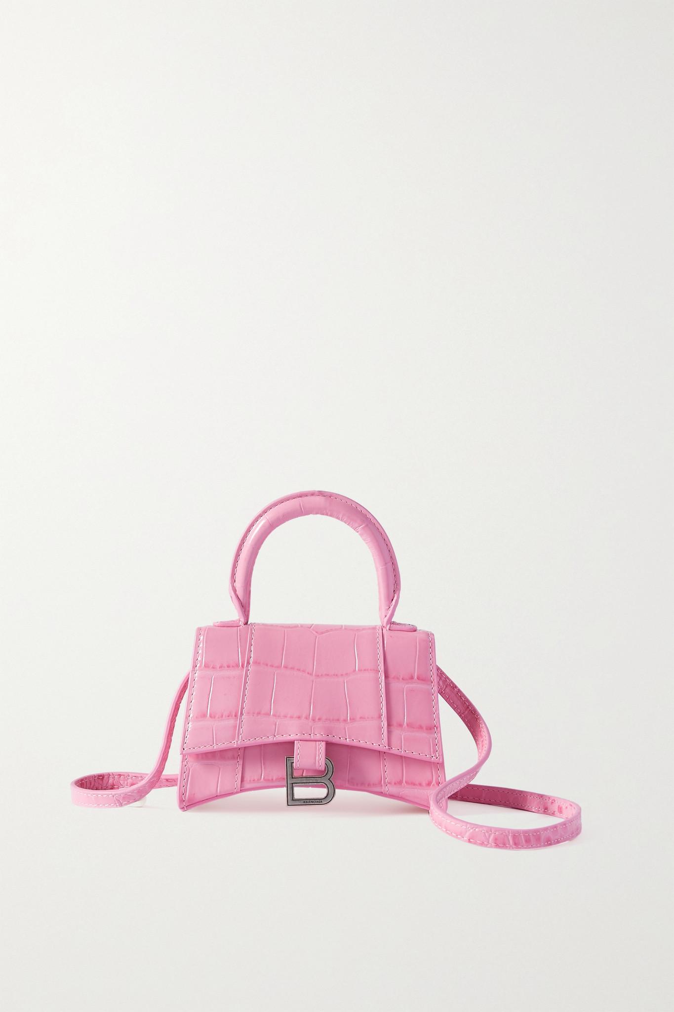 BALENCIAGA - Hourglass 仿鳄鱼纹皮革超迷你手提包 - 粉红色 - one size