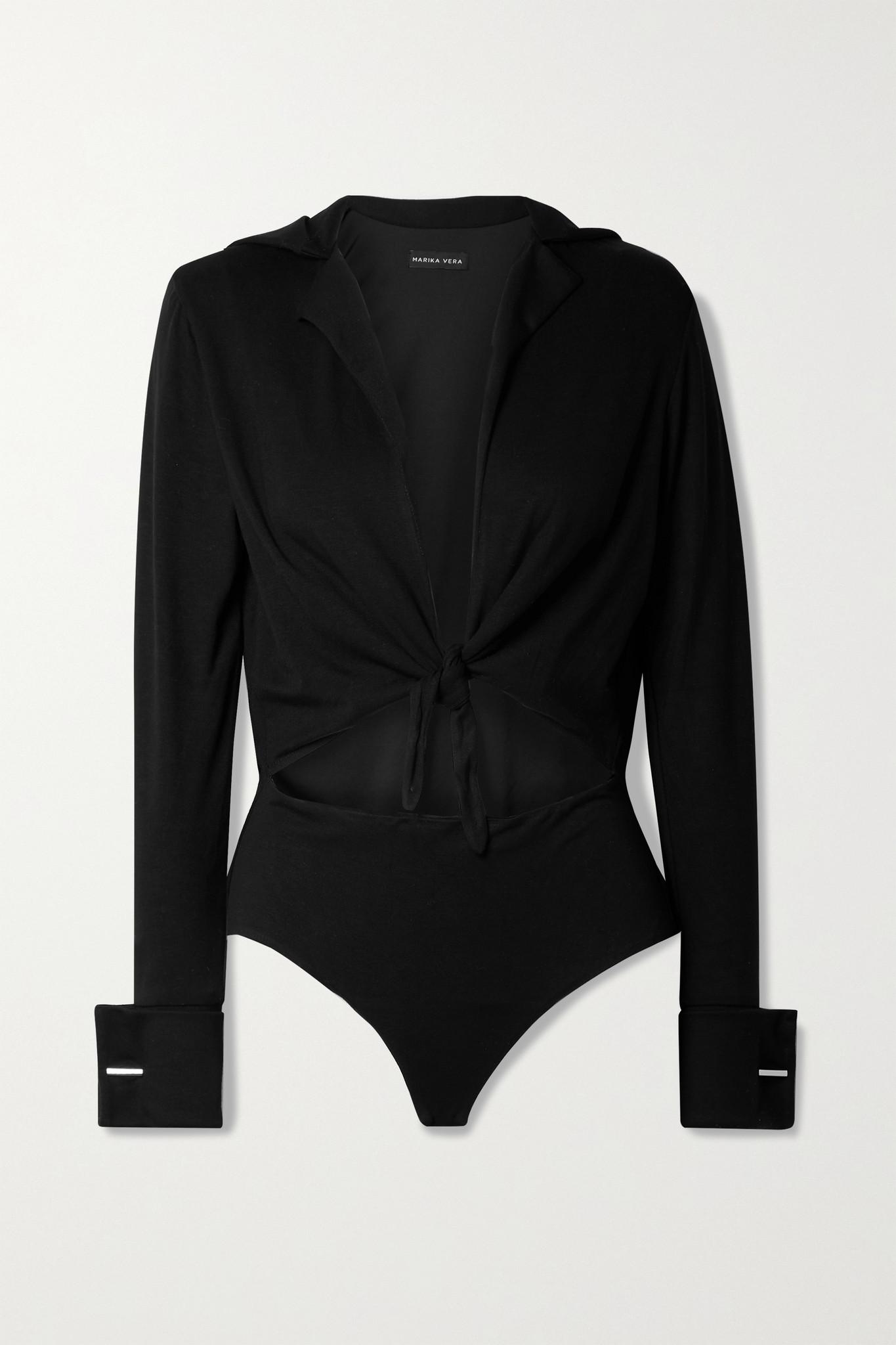 MARIKA VERA - Mirja Tie-front Cutout Stretch-jersey Thong Bodysuit - Black - large
