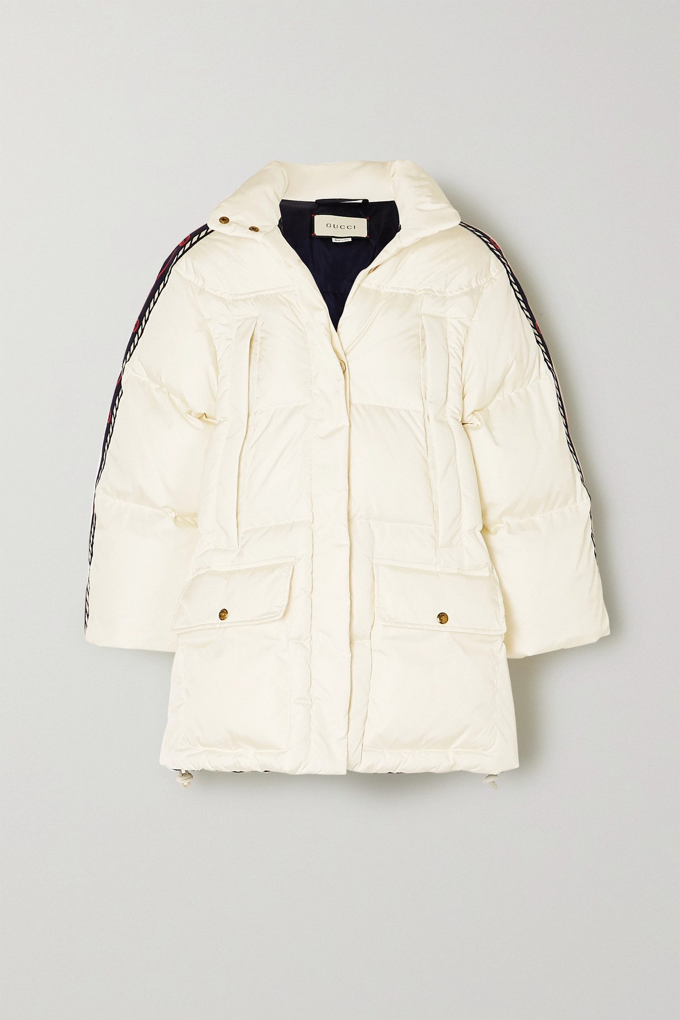 GUCCI - Oversized Webbing-trimmed Quilted Shell Down Jacket - Ivory - IT40