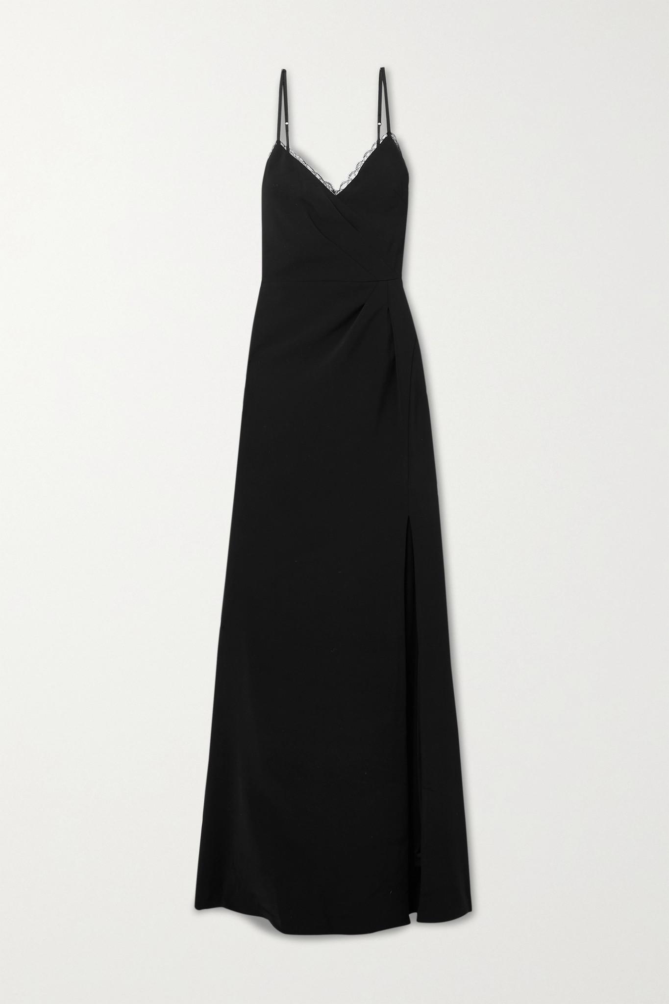 MARCHESA NOTTE - Lace-trimmed Crepe Gown - Black - US10