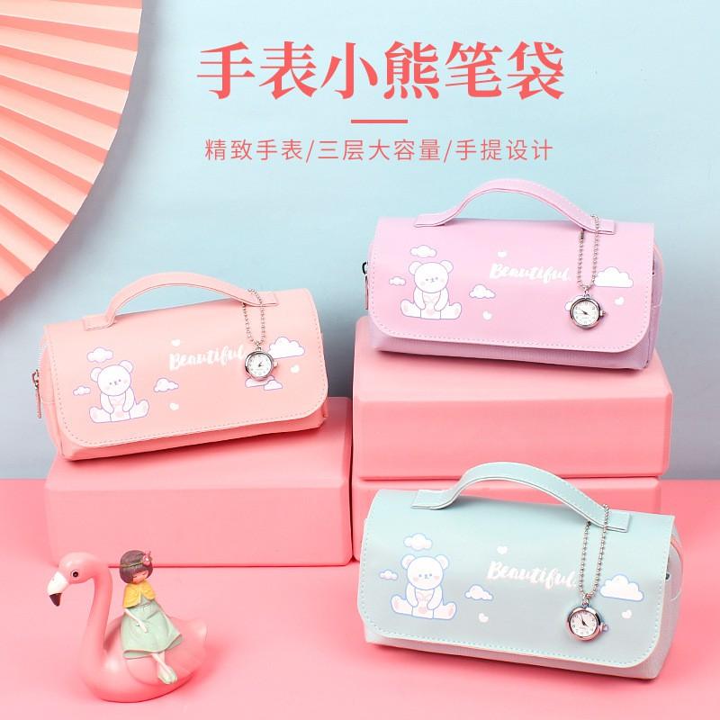 現貨 文具袋 容量紅款 鉛 筆袋 筆袋 系網 高顏值 文具盒 大 學生 多功能 初中 韓版 小 學生 少女心 創