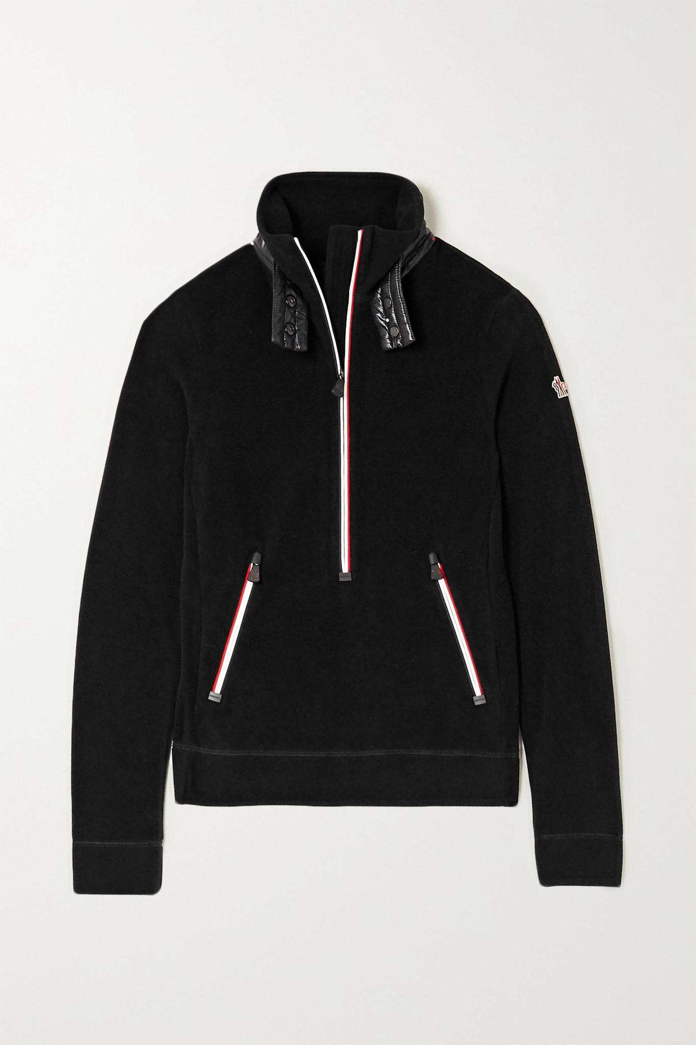 MONCLER GRENOBLE - 软壳面料边饰抓绒上衣 - 黑色 - small