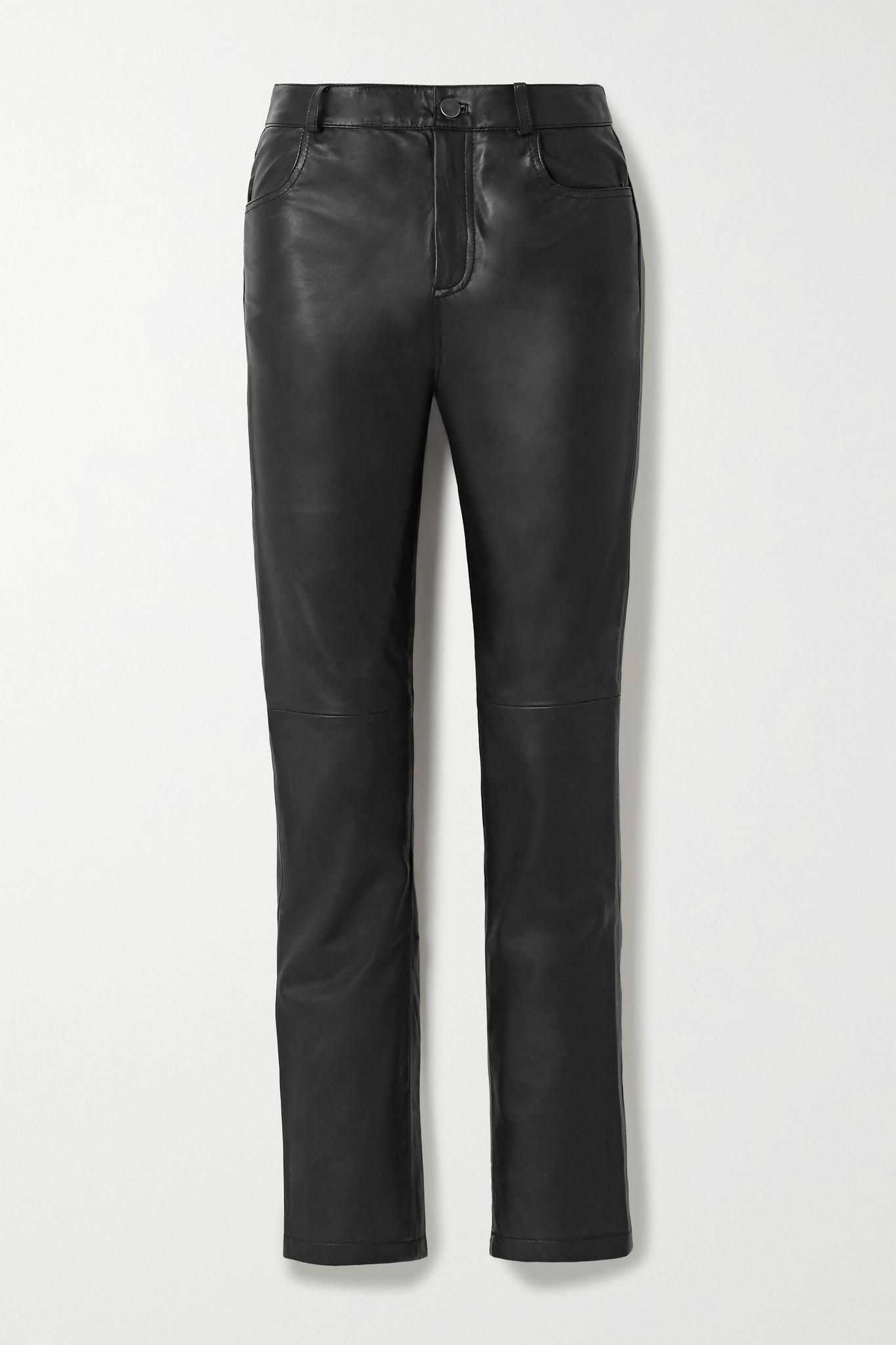 DEADWOOD - 【net Sustain】phoenix 皮革直筒裤 - 黑色 - DK34