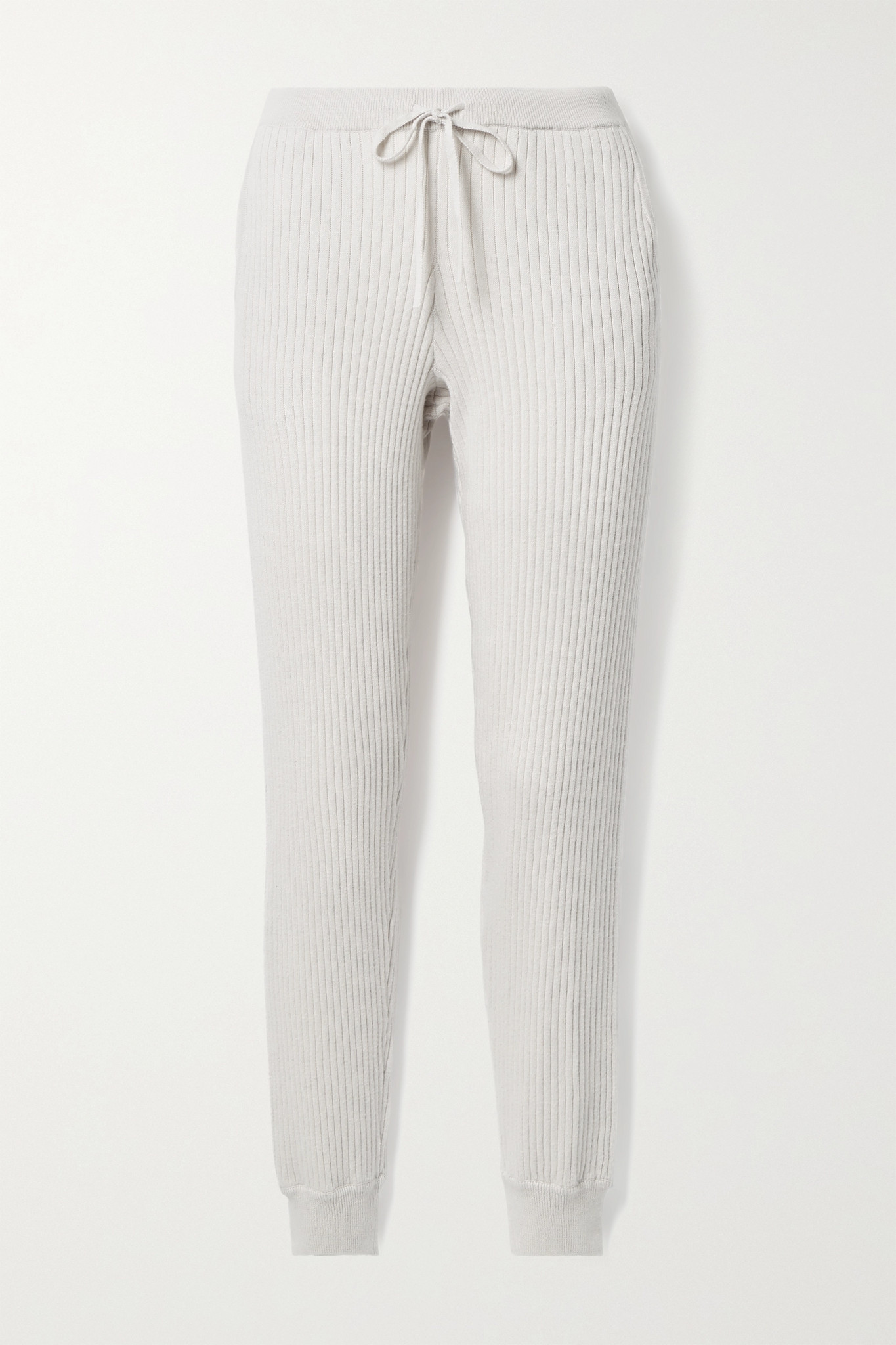 SKIN - Maizie Ribbed Cotton And Cashmere-blend Track Pants - Off-white - small