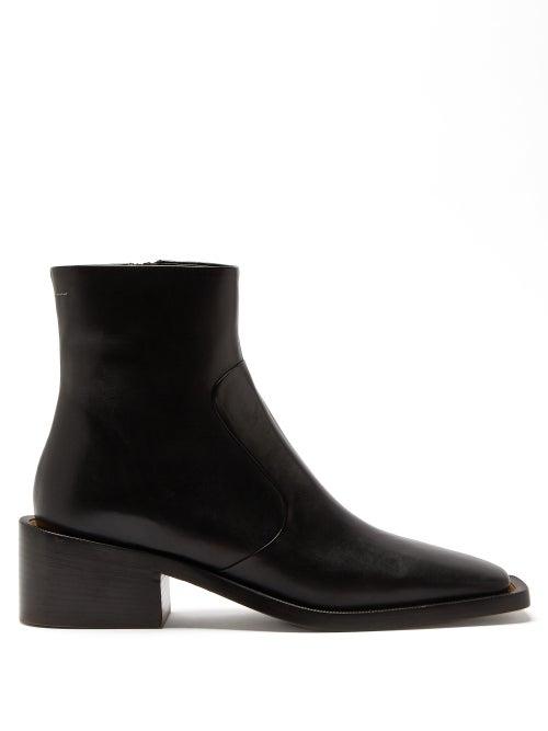 Mm6 Maison Margiela - Square-toe Faux-leather Ankle Boots - Womens - Black