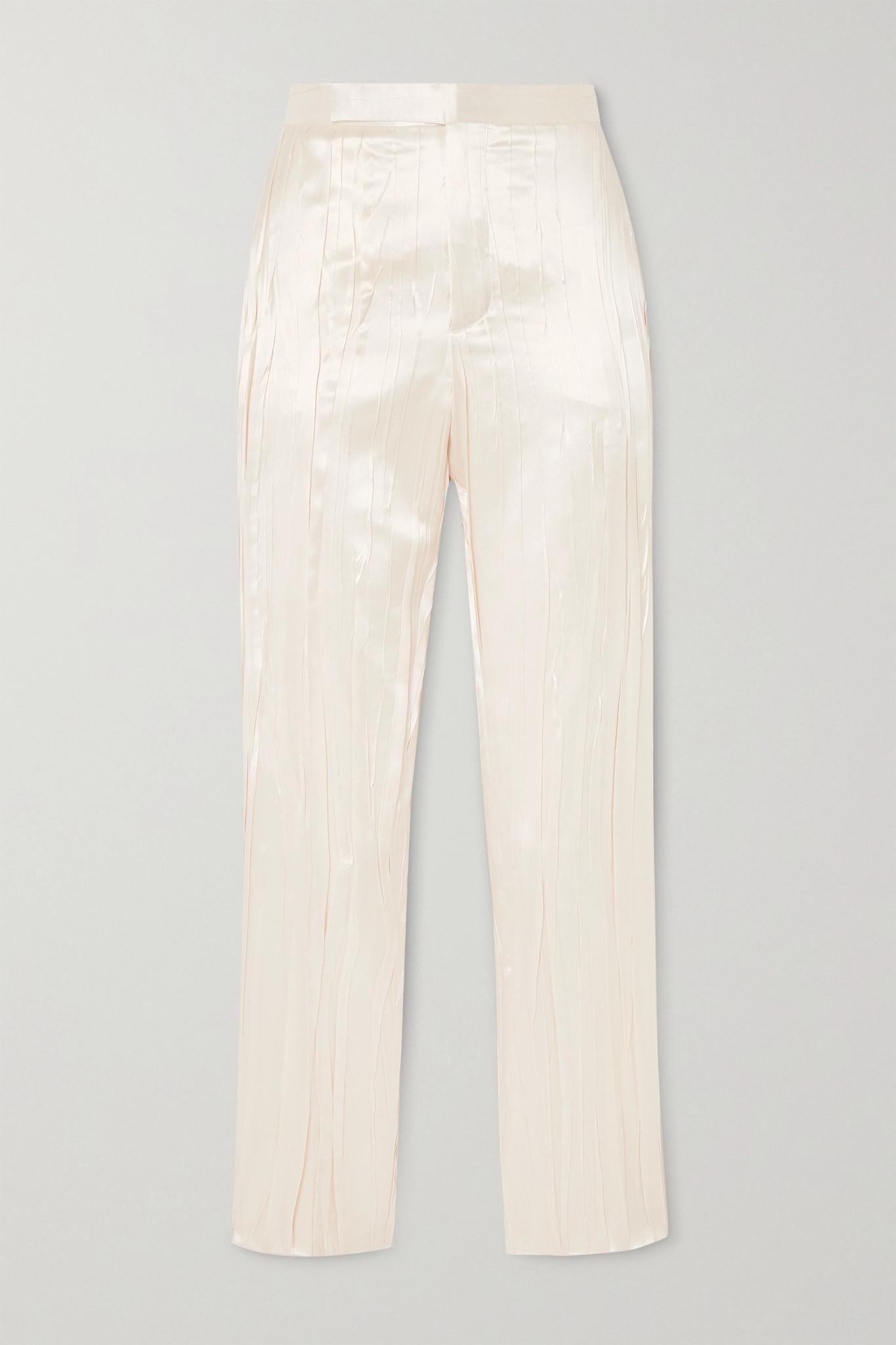 SAINT LAURENT - Pleated Silk-blend Satin Slim-fit Pants - Ivory - FR38