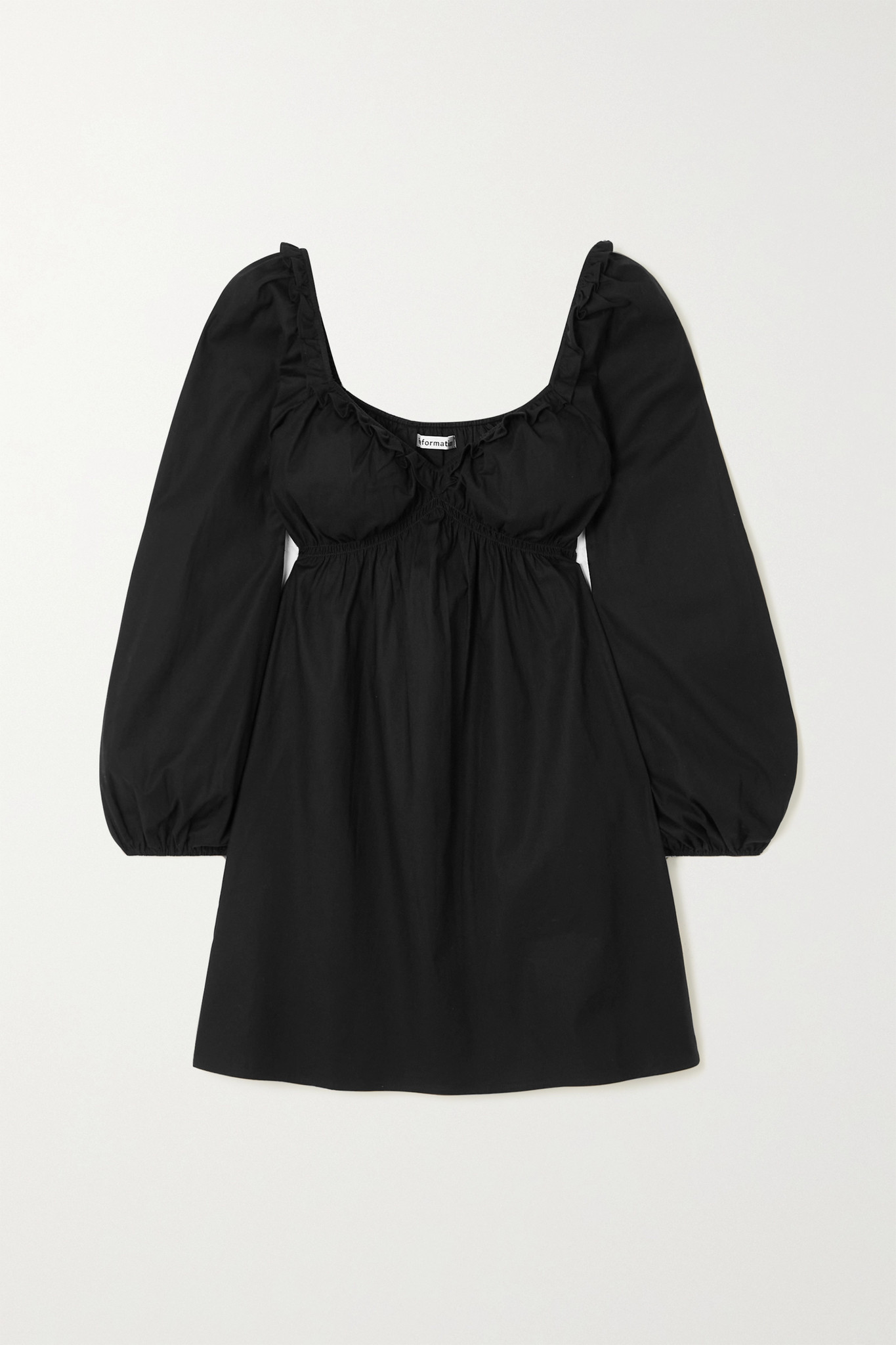 REFORMATION - 【net Sustain】vic 褶饰有机棉质混纺府绸迷你连衣裙 - 黑色 - x large