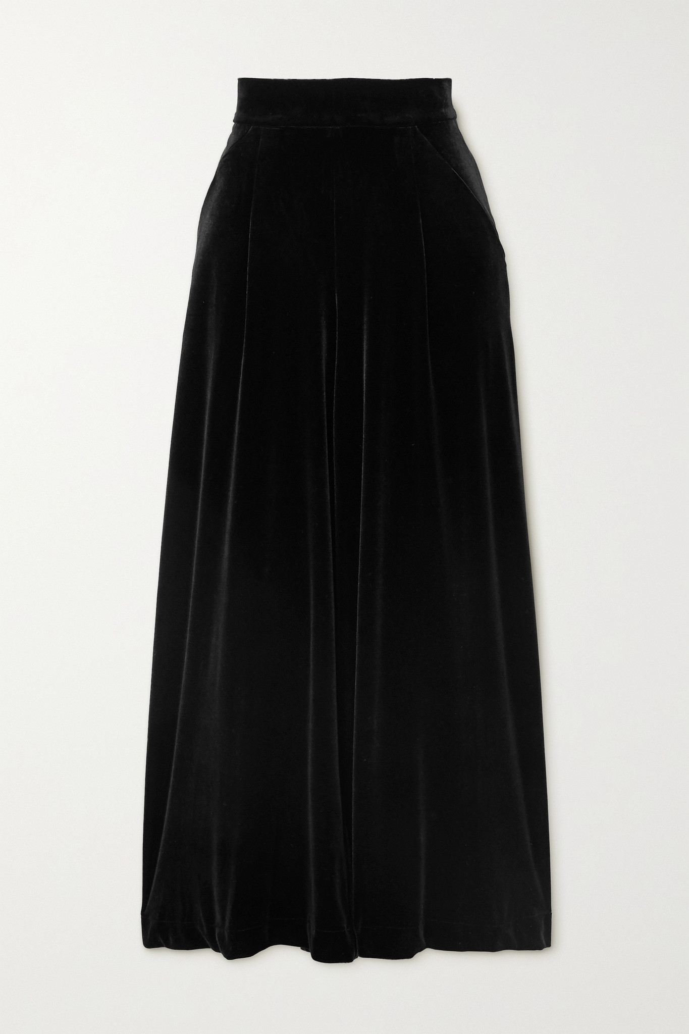 LORETTA CAPONI - Sabrina Stretch-velvet Wide-leg Pants - Black - x small