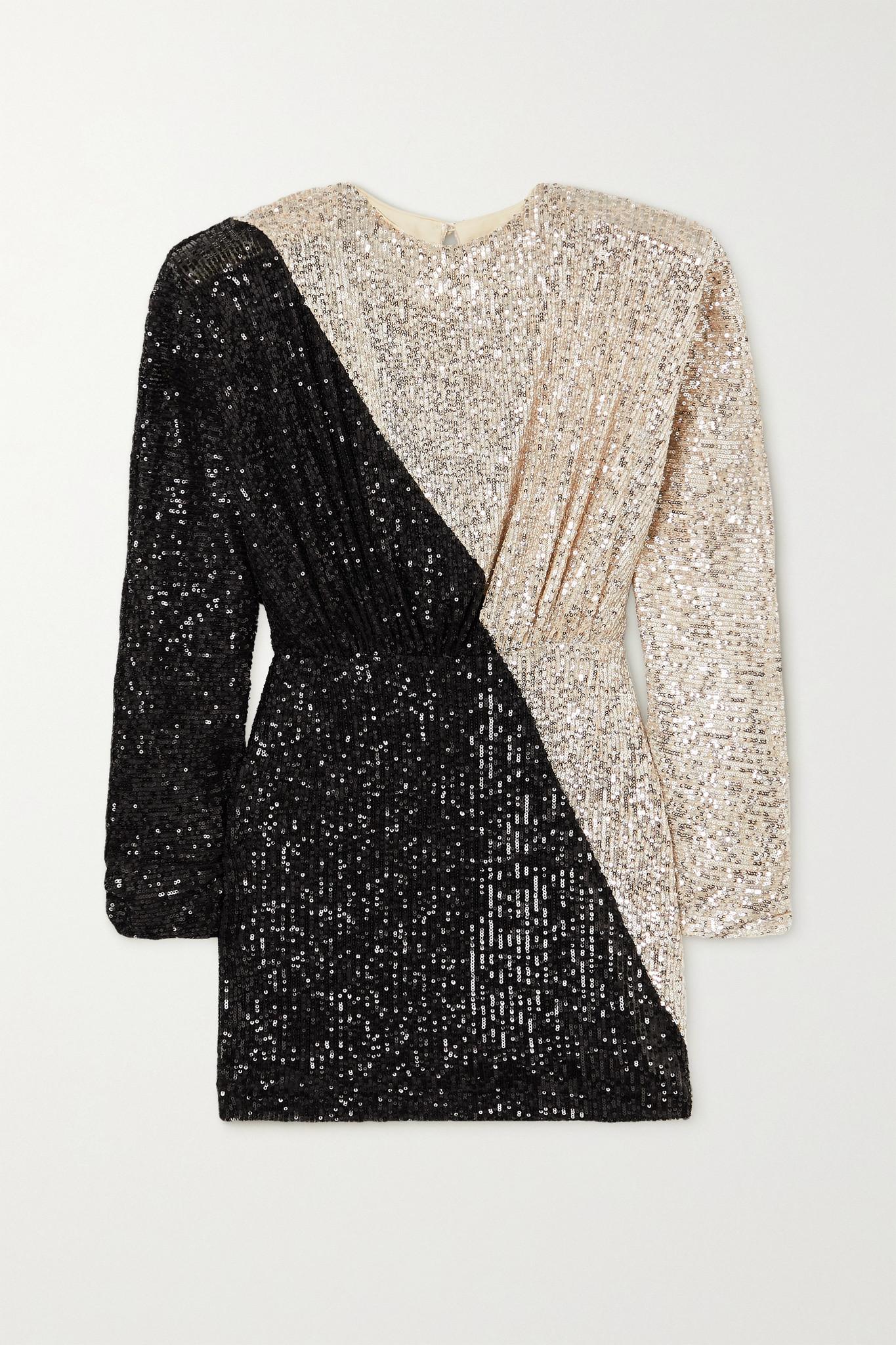 ROTATE BIRGER CHRISTENSEN - Billie Two-tone Sequined Stretch-knit Mini Dress - Silver - DK36