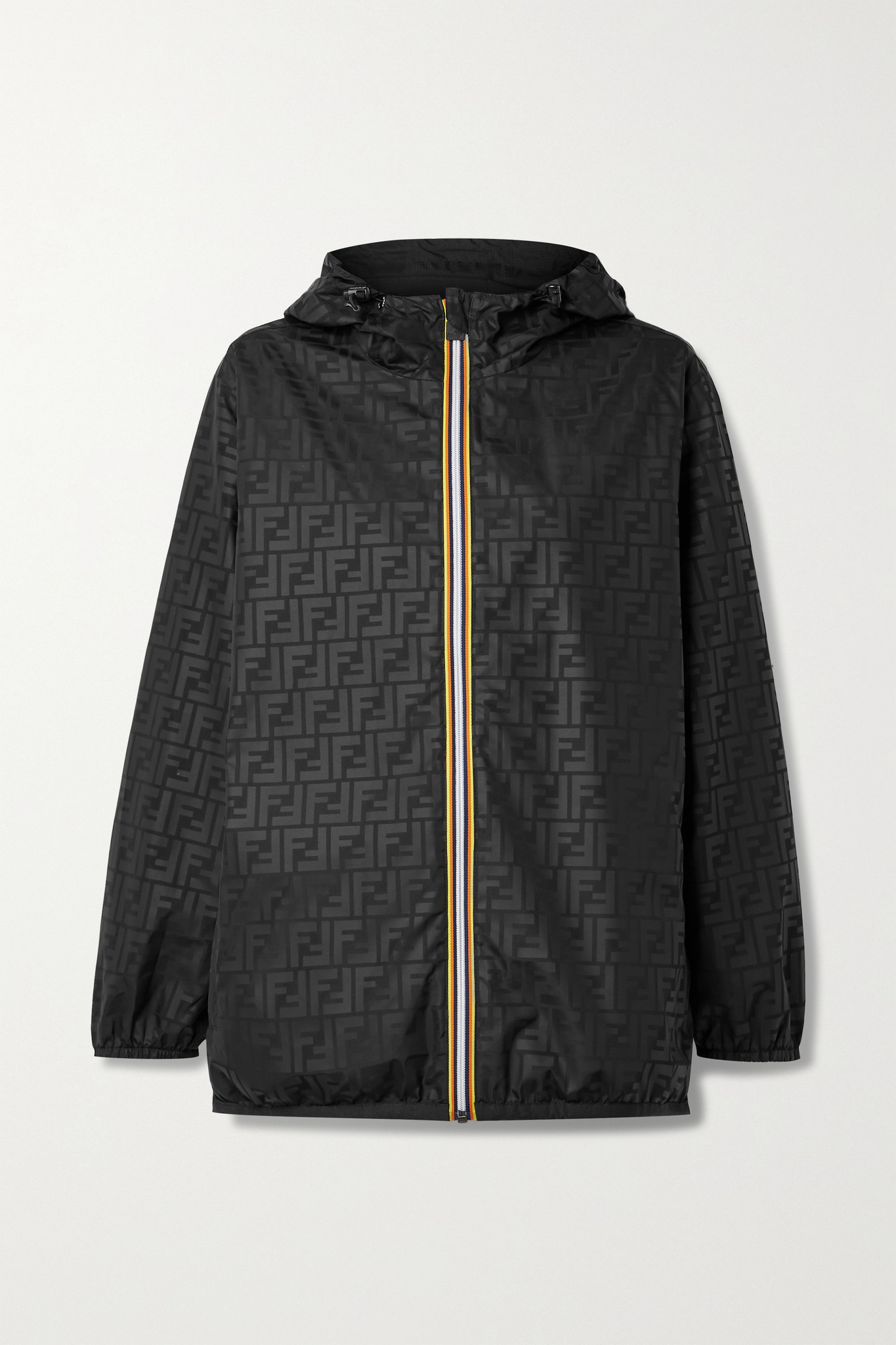 FENDI - + K-way Reversible Hooded Printed Shell And Ripstop Jacket - Black - small