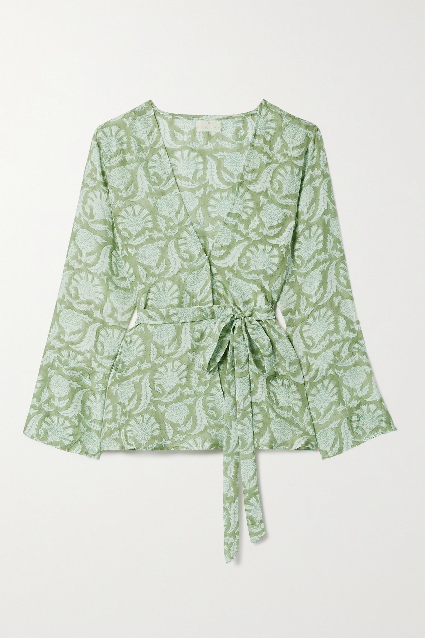 HANNAH ARTWEAR - 【net Sustain】maya 印花真丝裹身连衣裙 - 绿色 - One size
